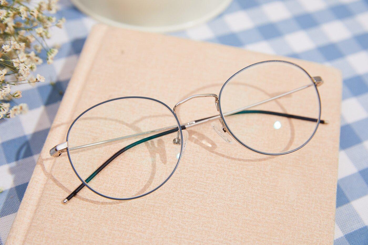 Silver-Grey Hipster Low Bridge Fit Metal Eyeglasses