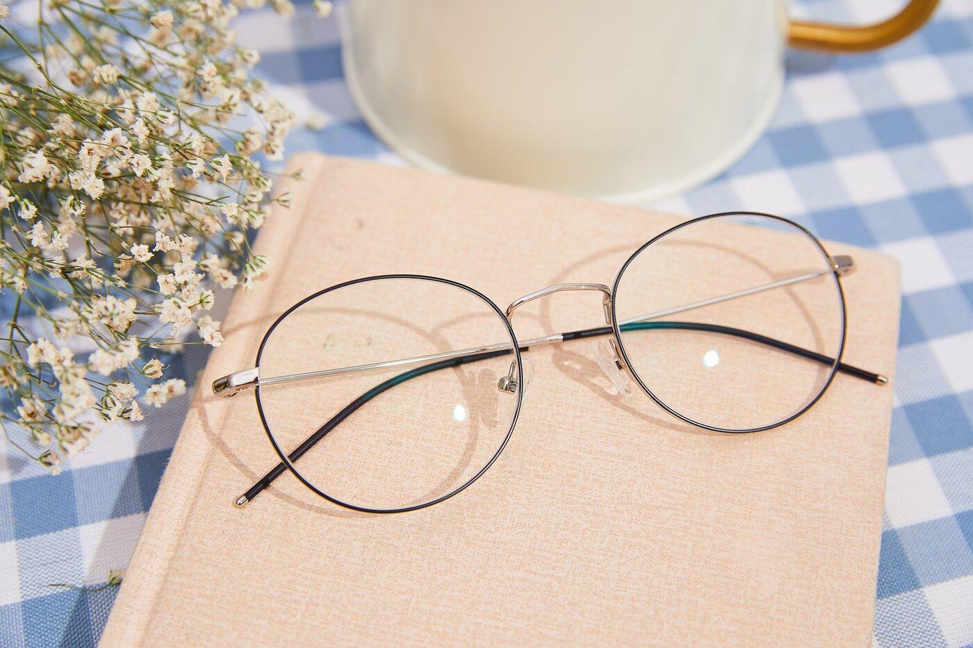 Silver-Matte Black Hipster Low Bridge Fit Metal Eyeglasses