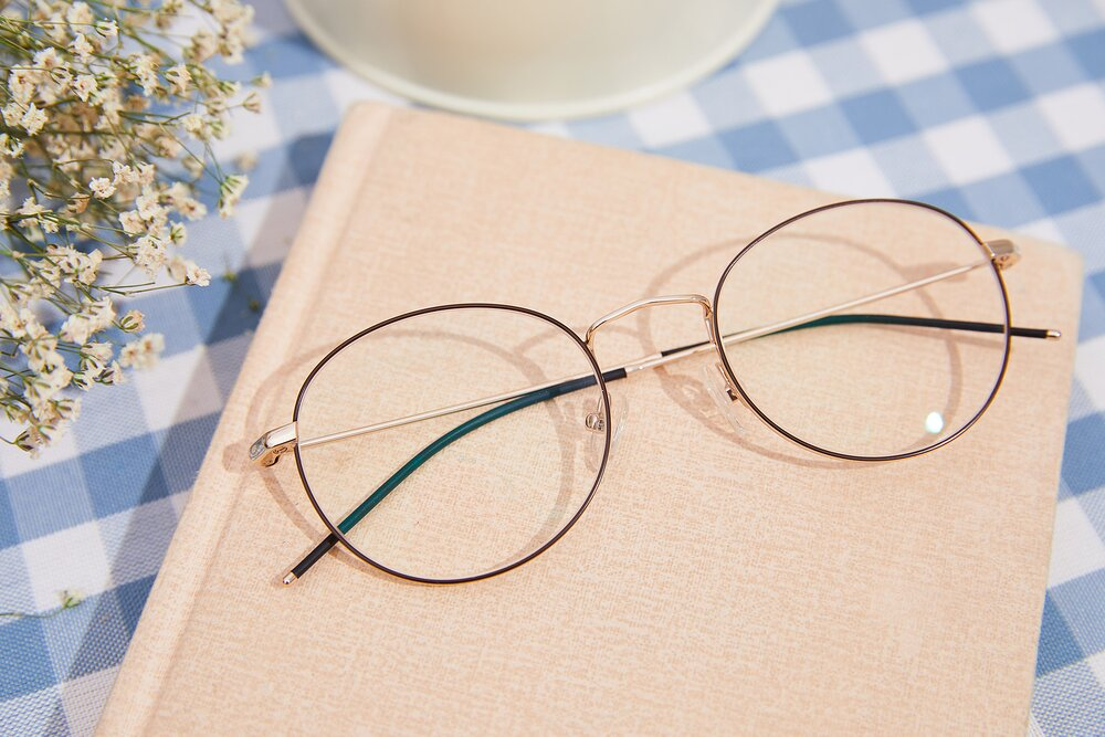 Gold-Brown Hipster Low Bridge Fit Metal Eyeglasses