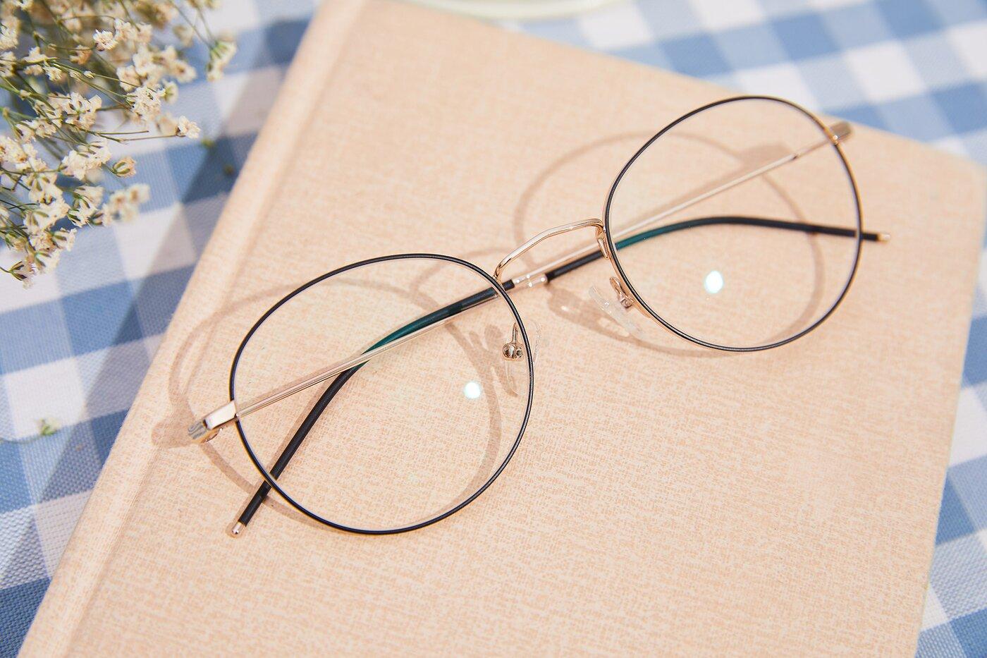 Gold-Black Hipster Low Bridge Fit Metal Eyeglasses