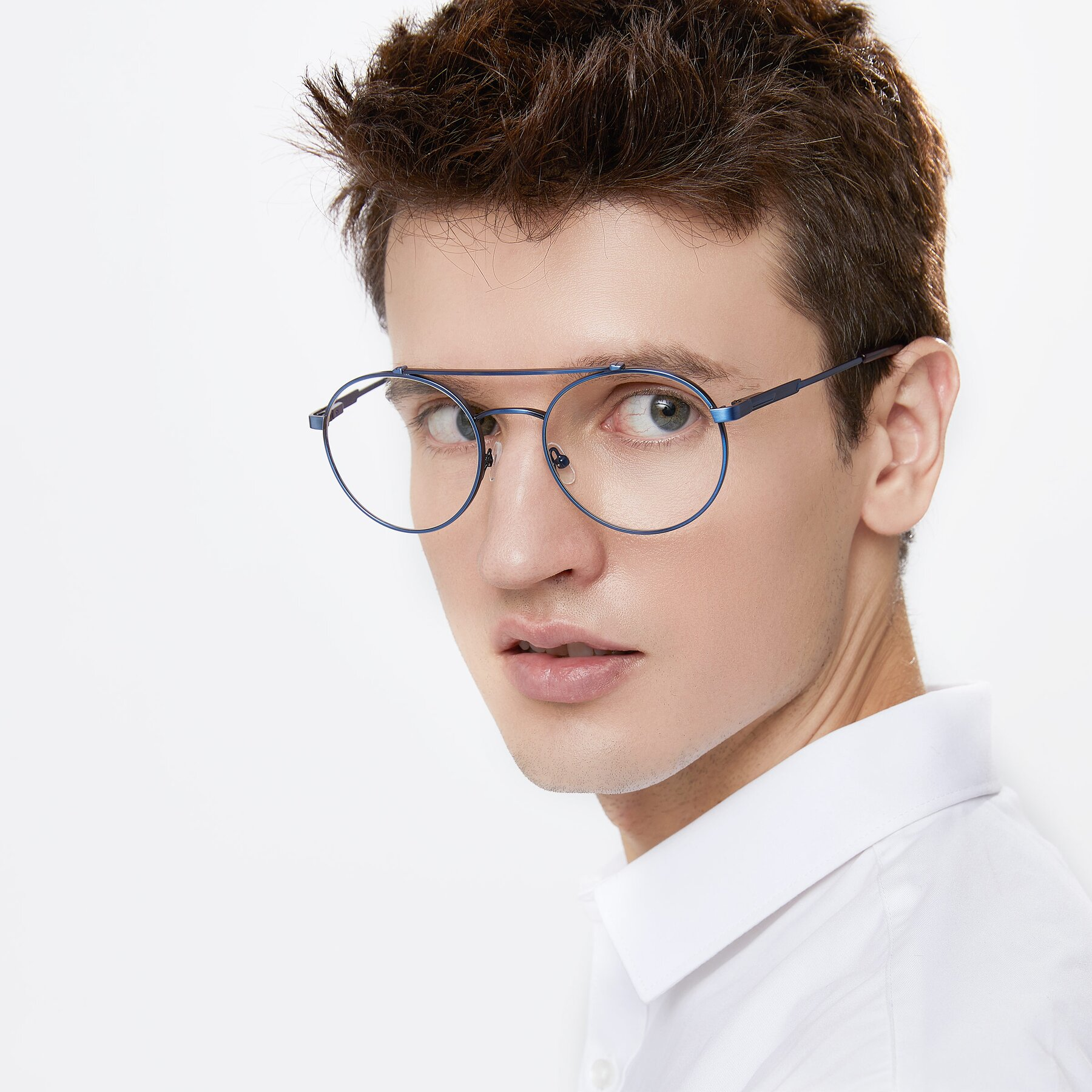 Men's lifestyle photography of 9490 in Antique Blue with Clear Eyeglass Lenses