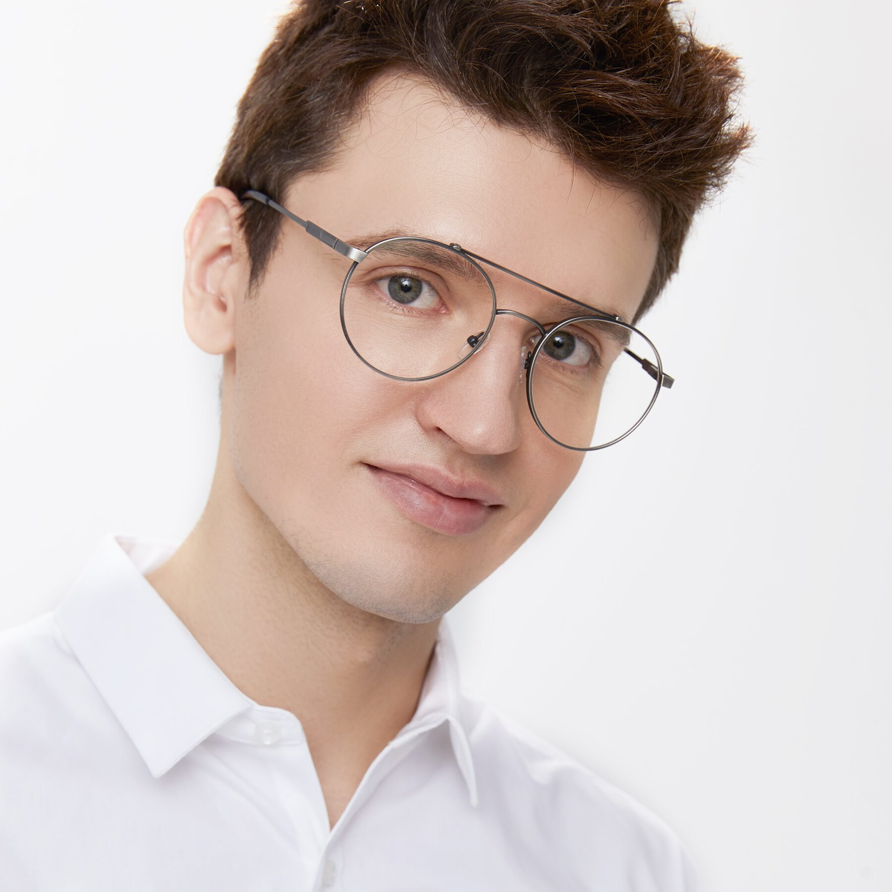 Men's lifestyle photography of 9490 in Antique Gunmetal with Clear Eyeglass Lenses
