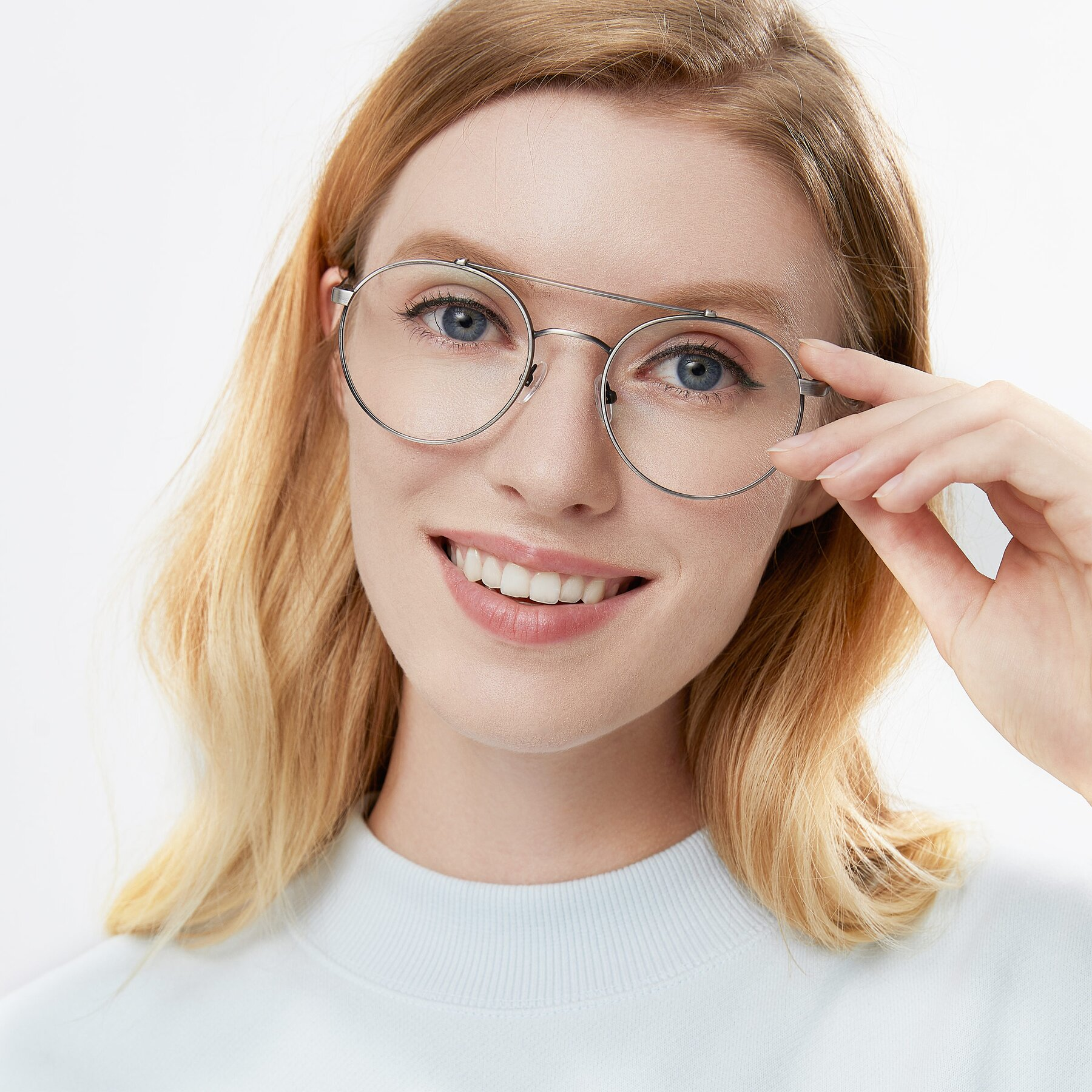 Women's lifestyle photography of 9490 in Antique Gunmetal with Clear Eyeglass Lenses