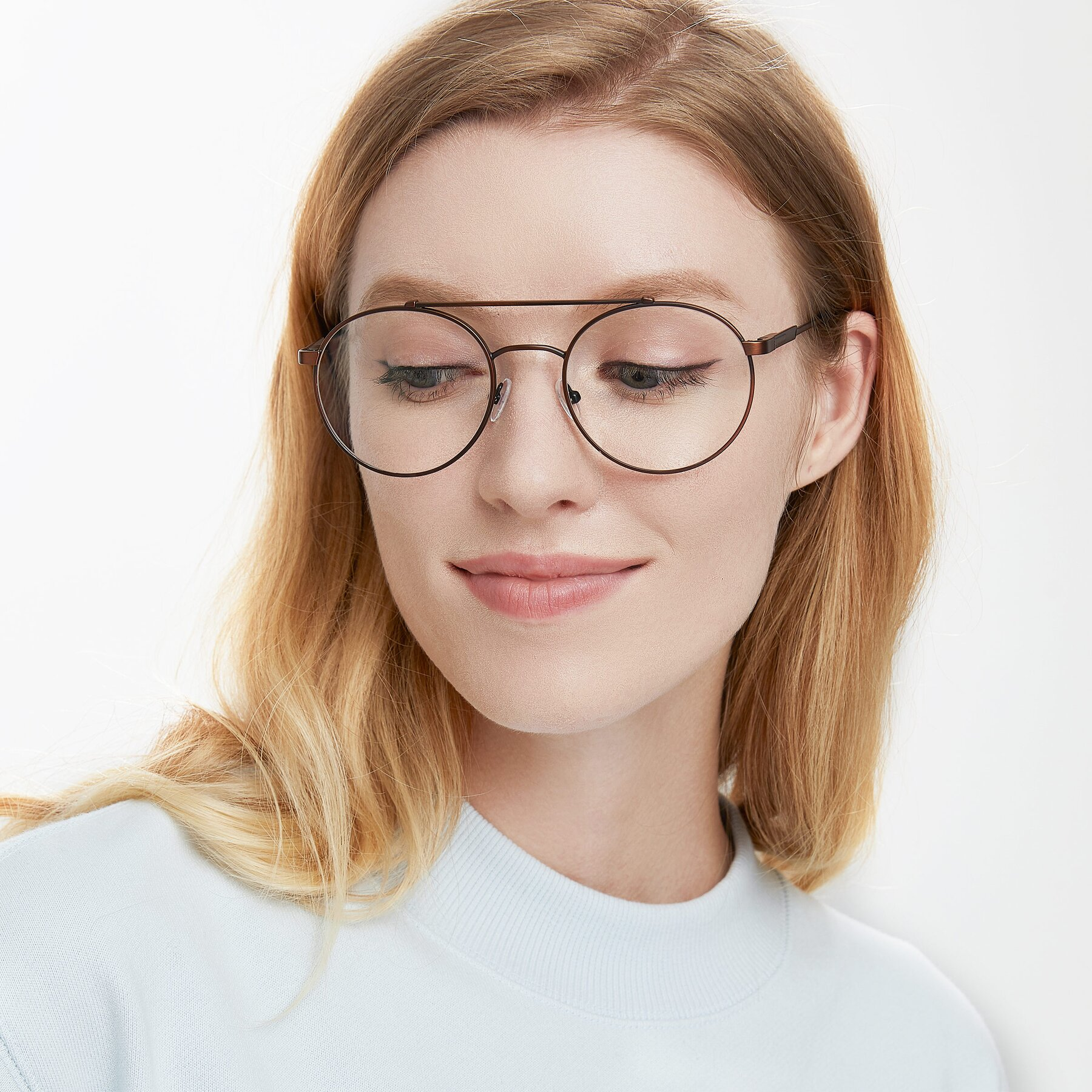 Women's lifestyle photography of 9490 in Antique Brown with Clear Eyeglass Lenses