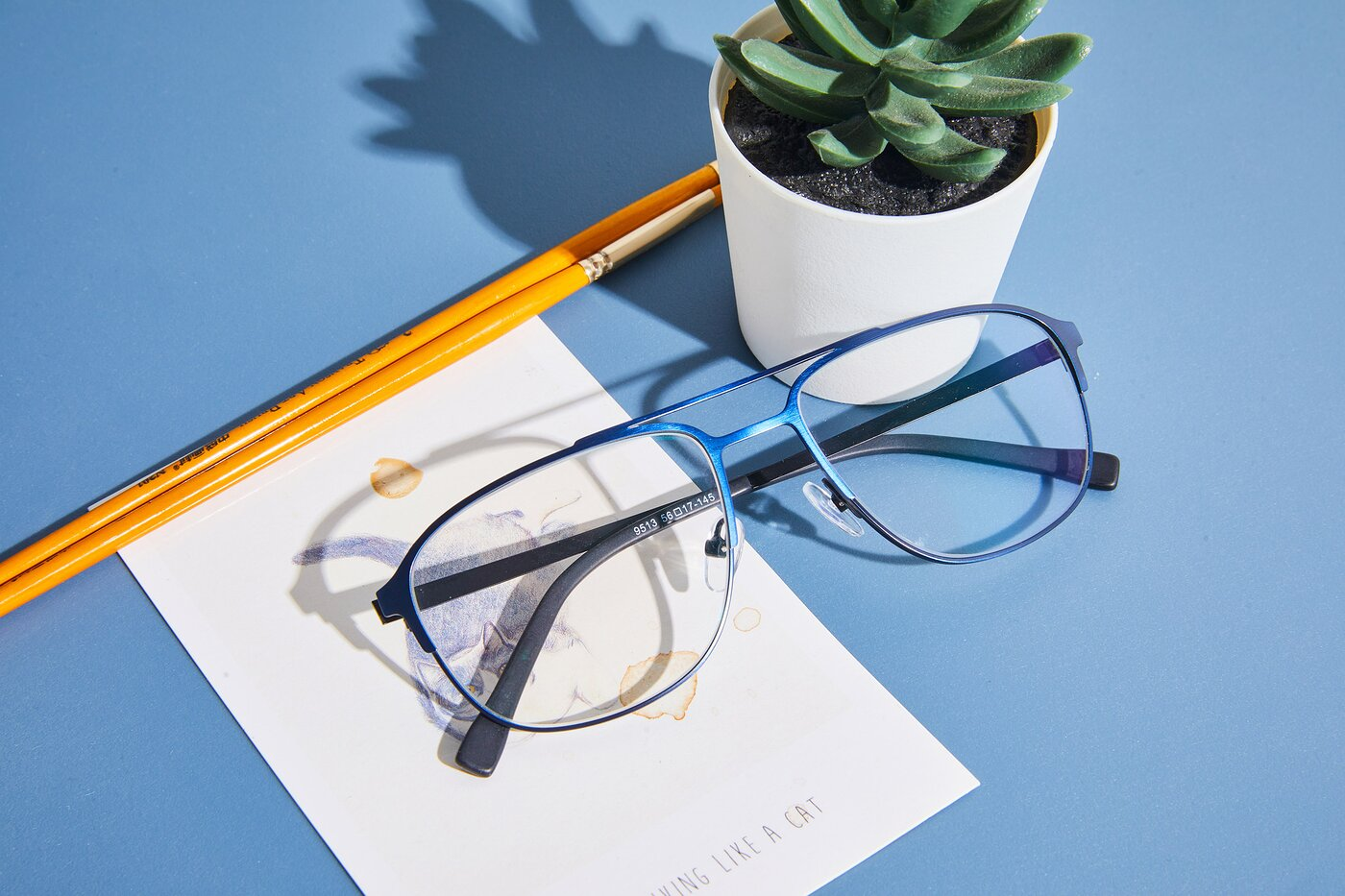 Antique Blue Metal Aviator Square Eyeglasses