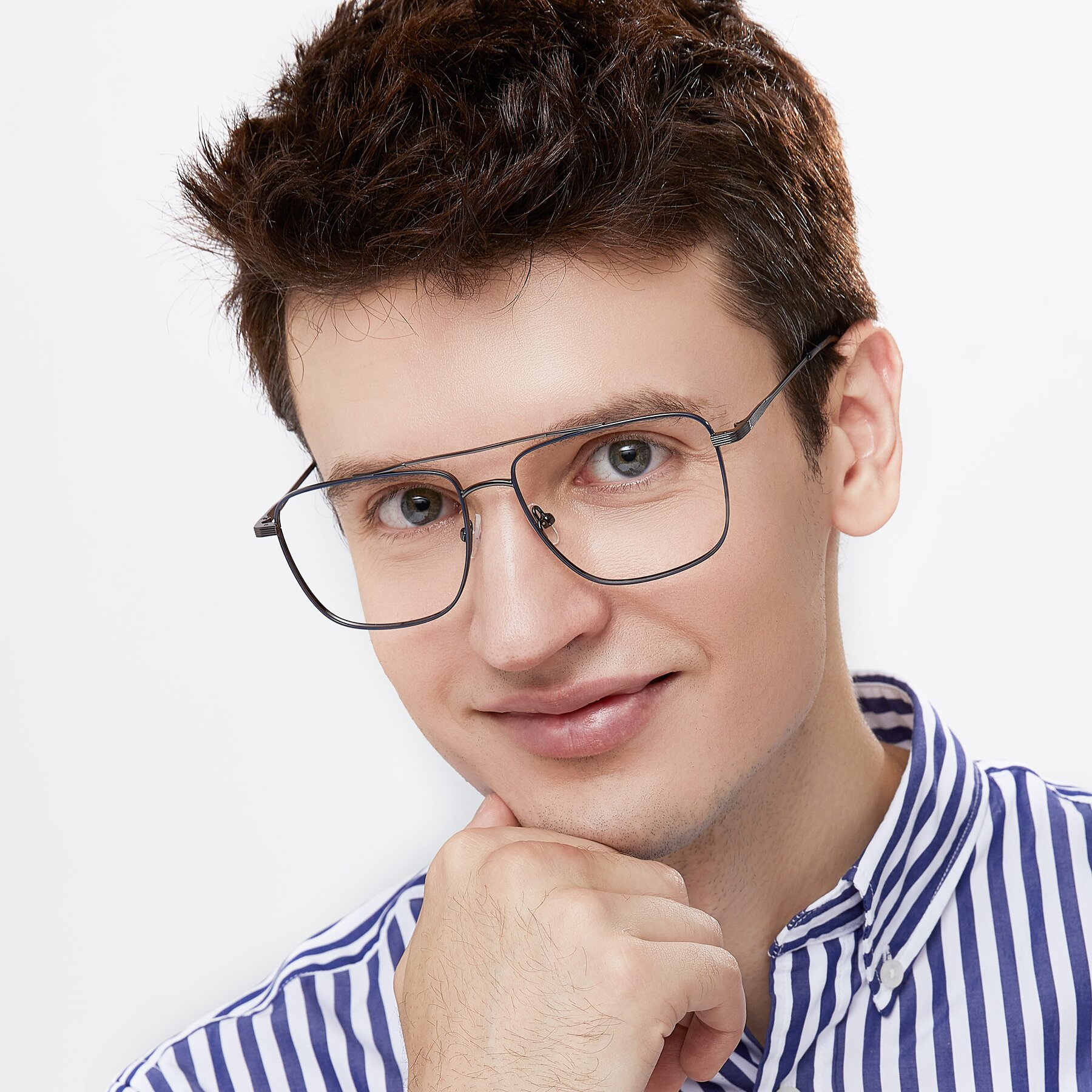 Men's lifestyle photography of 9519 in Ink Blue-Gun with Clear Eyeglass Lenses