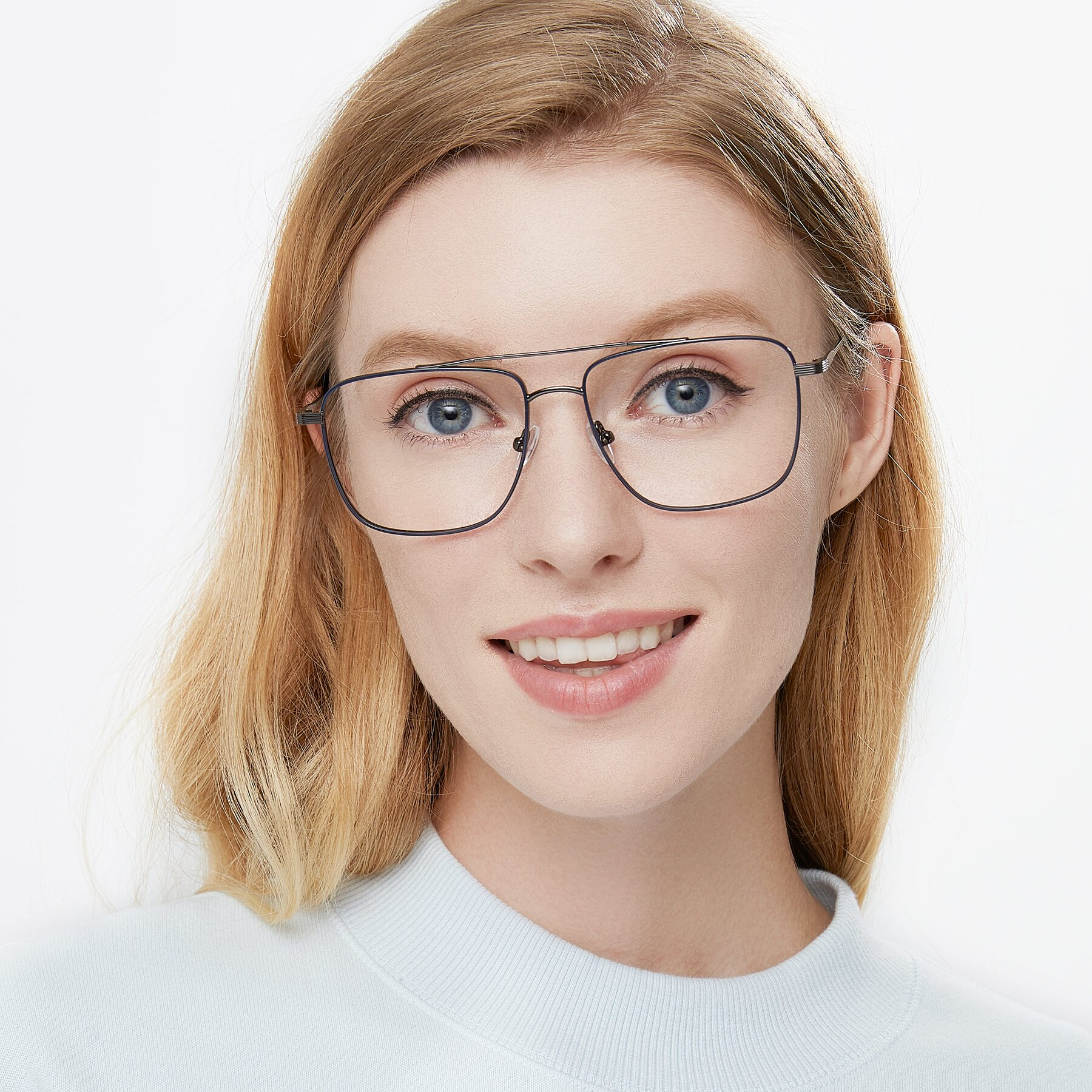 Women's lifestyle photography of 9519 in Ink Blue-Gun with Clear Eyeglass Lenses