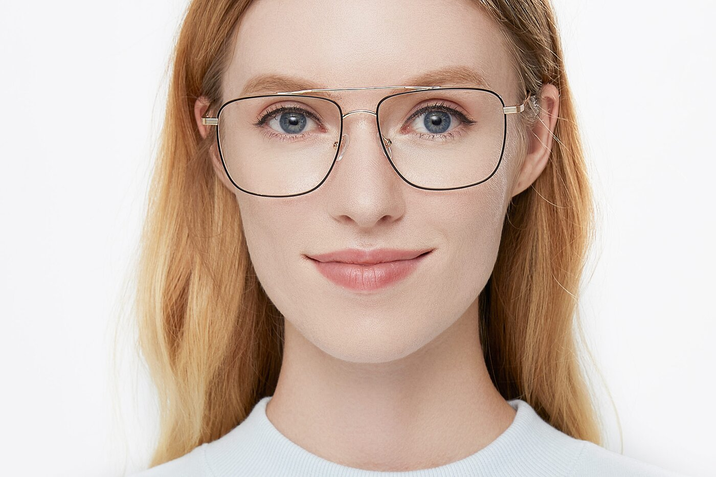 Black-Gold Oversized Double Bridge Square Eyeglasses