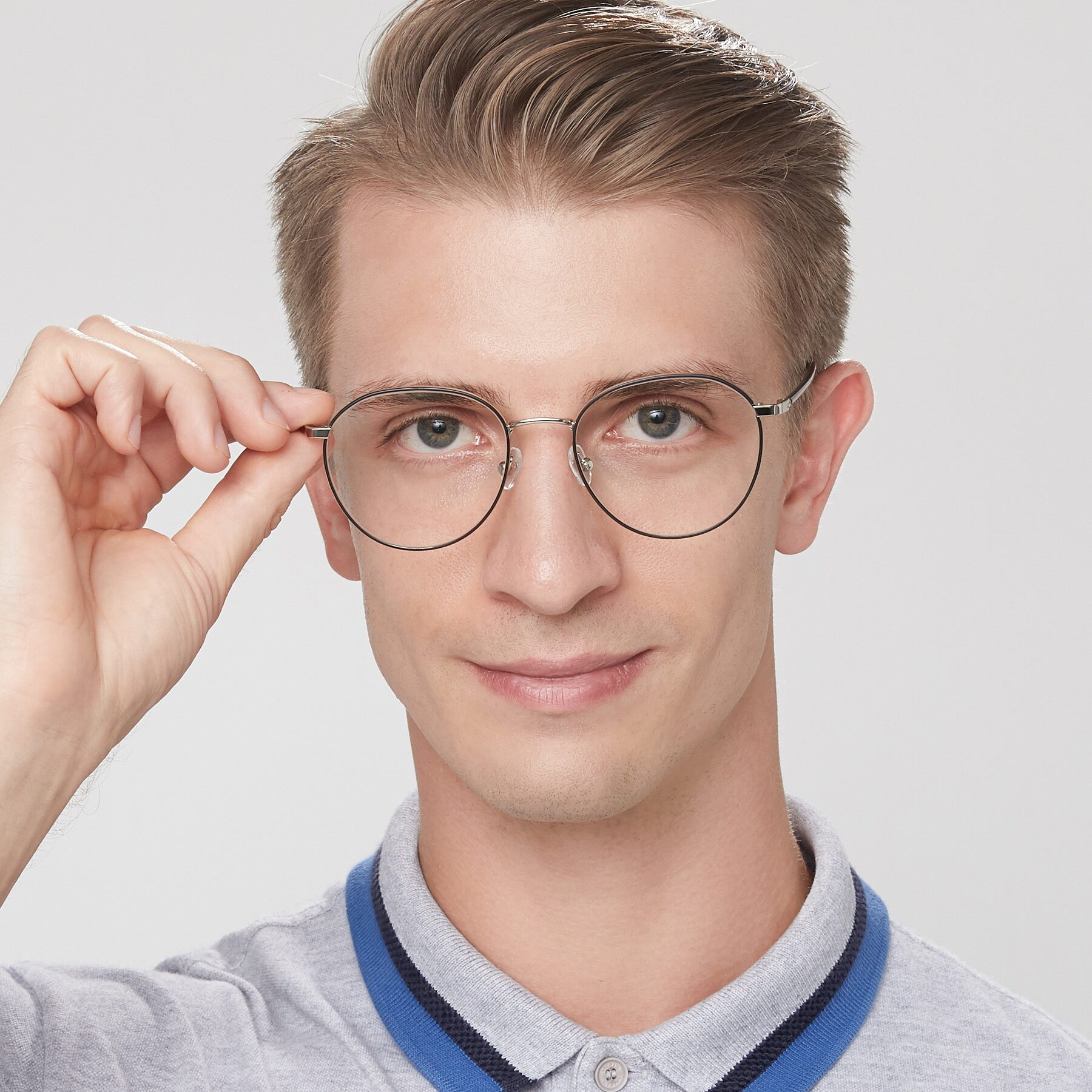 Men's lifestyle photography of 9553 in Black-Silver with Clear Eyeglass Lenses