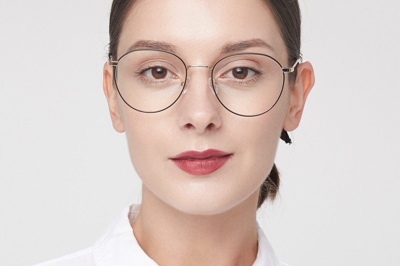Black-Gold Hipster Metal Round Eyeglasses