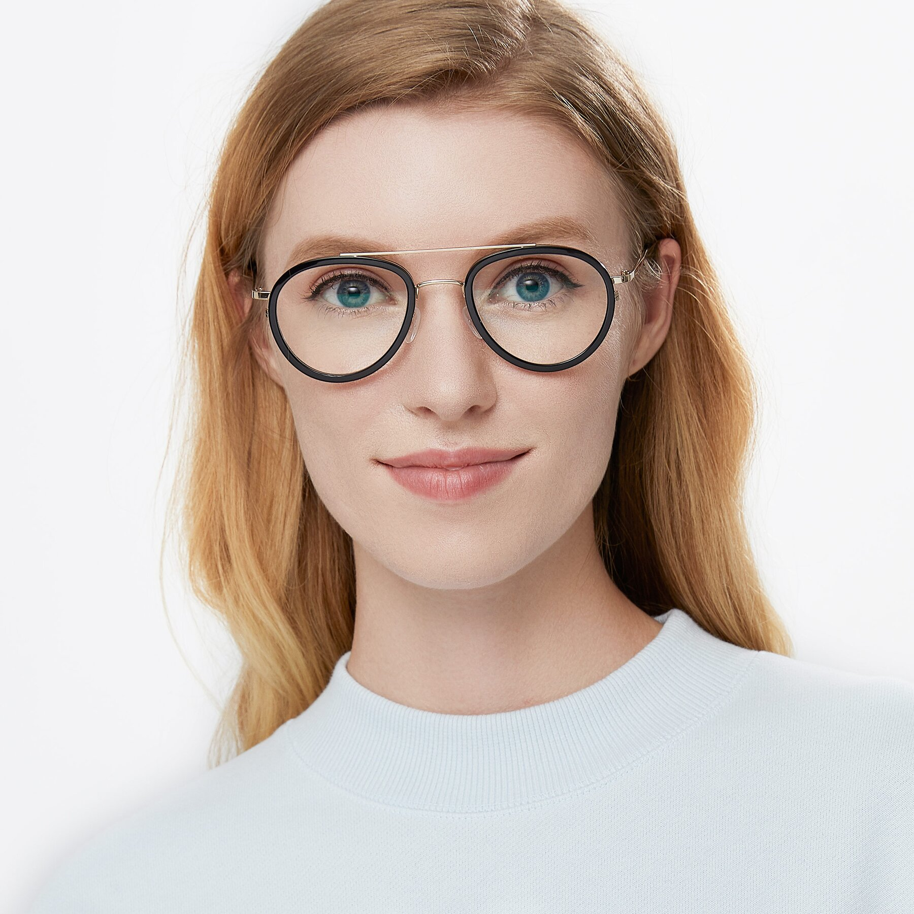 Women's lifestyle photography of 9554 in Black-Gold with Clear Blue Light Blocking Lenses