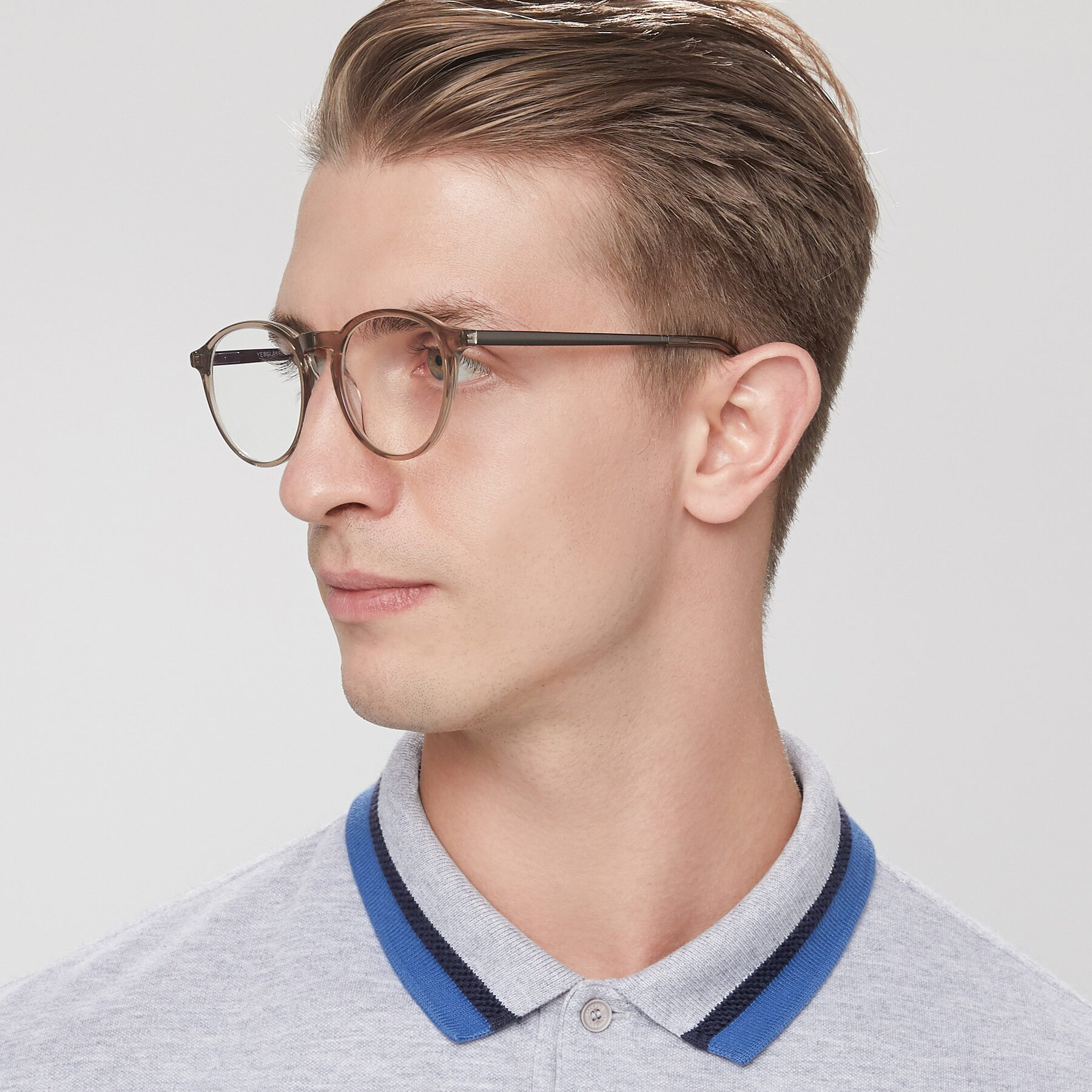 Men's lifestyle photography of 17450 in Transparent Brown with Clear Eyeglass Lenses