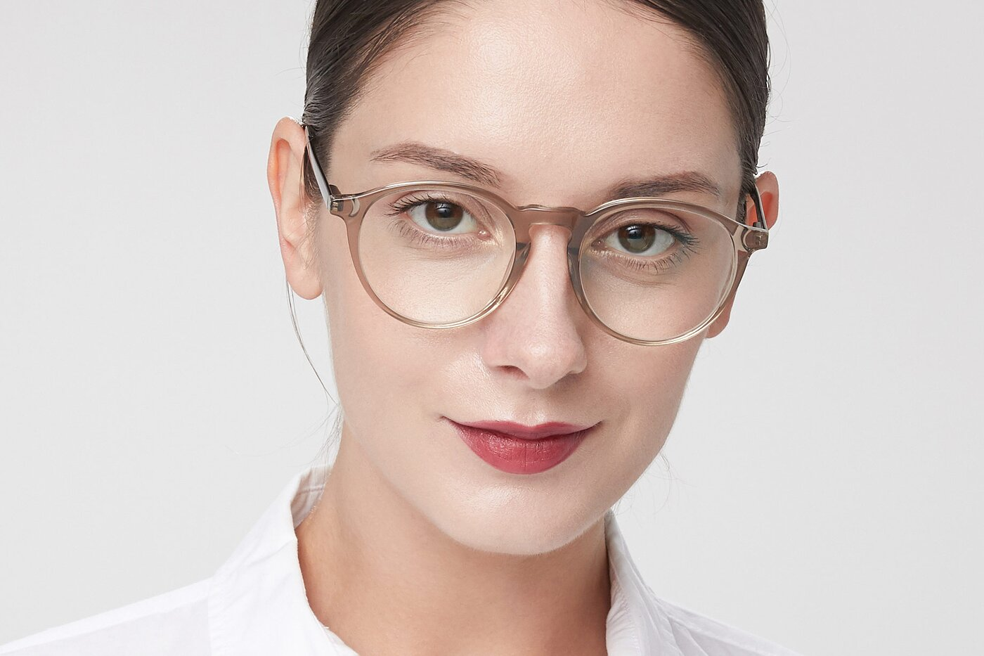 Transparent Brown Horn-Rimmed Keyhole Bridge Round Eyeglasses