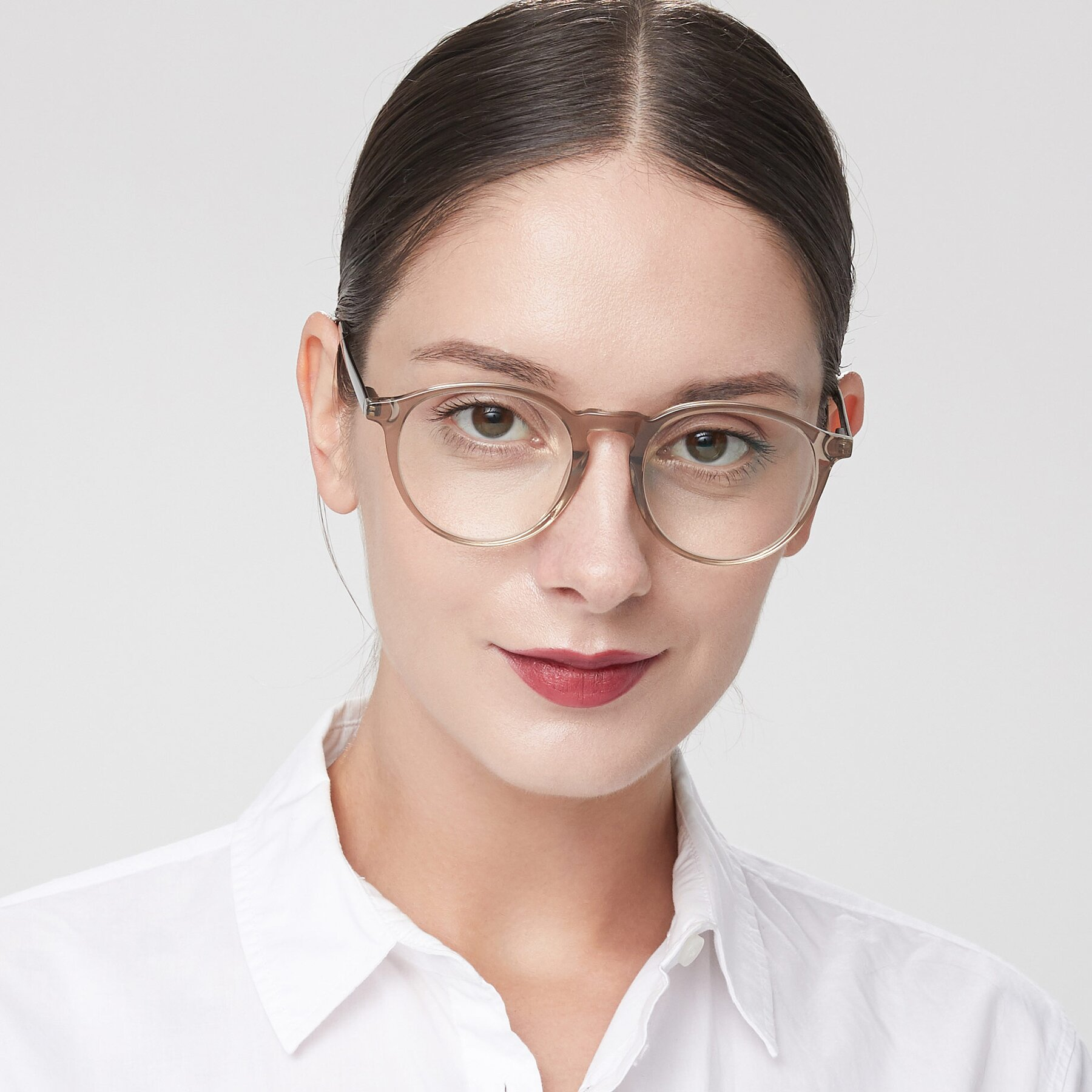 Women's lifestyle photography of 17450 in Transparent Brown with Clear Eyeglass Lenses