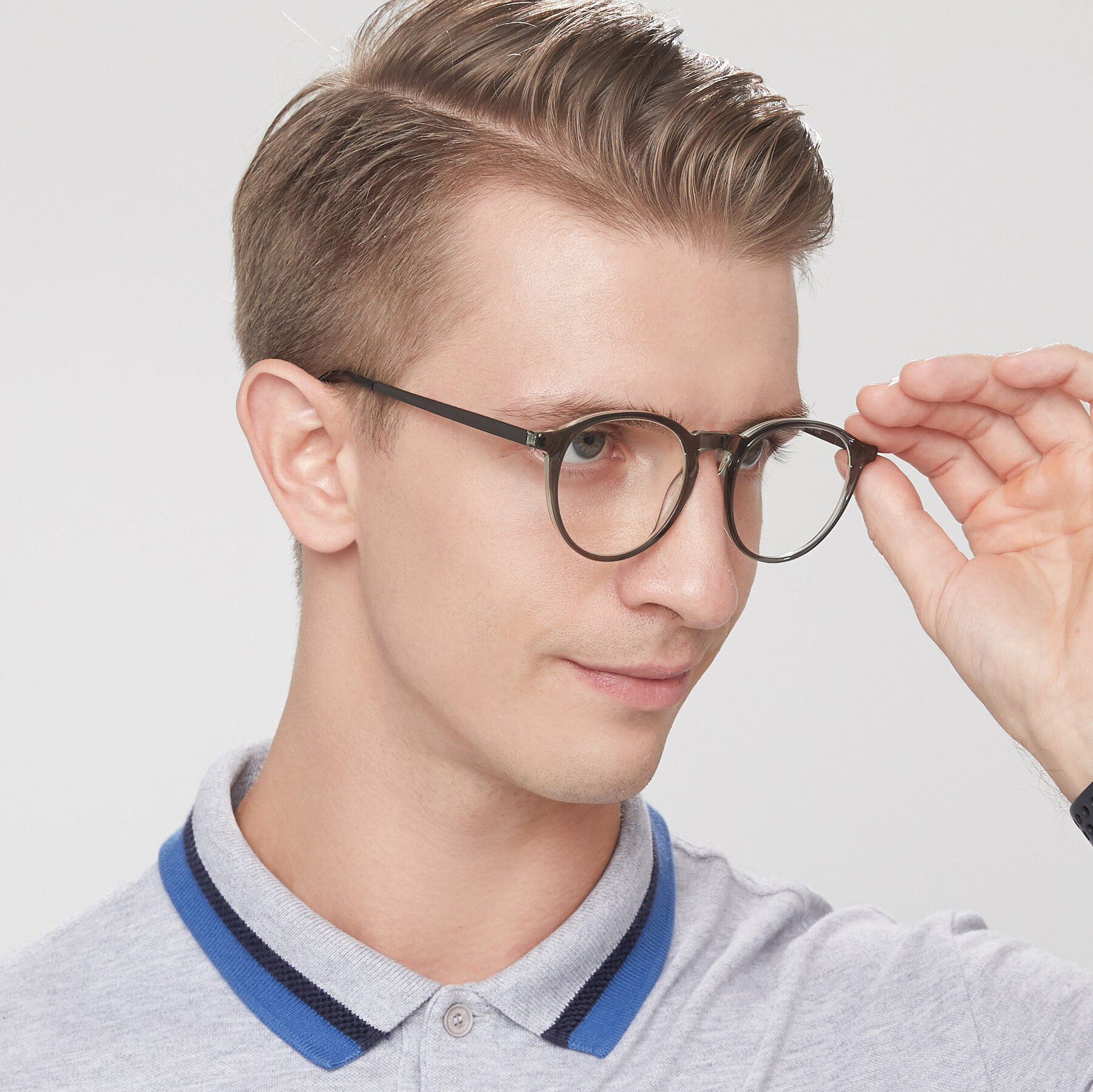Men's lifestyle photography of 17450 in Greenish Grey with Clear Eyeglass Lenses