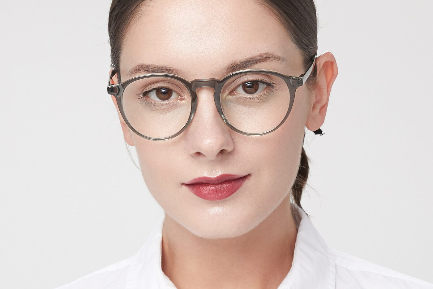 Greenish Grey Horn-Rimmed Keyhole Bridge Round Eyeglasses