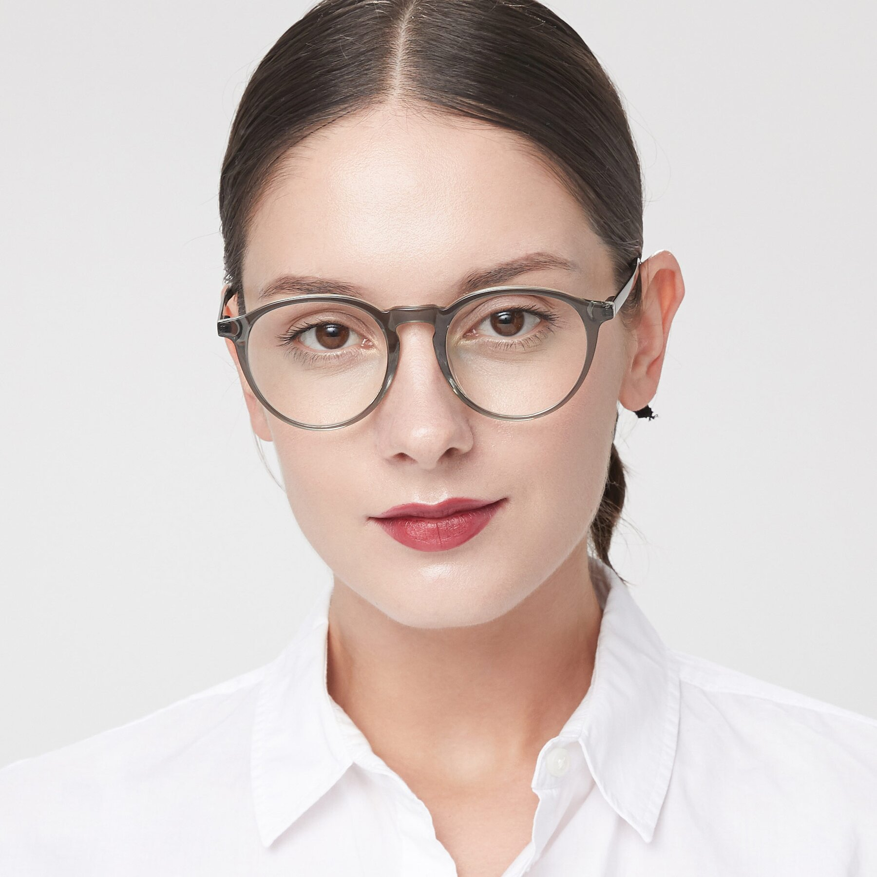 Women's lifestyle photography of 17450 in Greenish Grey with Clear Eyeglass Lenses