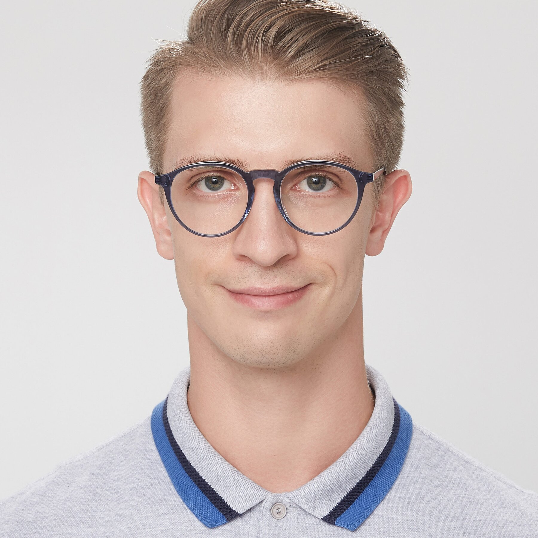 Men's lifestyle photography of 17450 in Blue with Clear Eyeglass Lenses