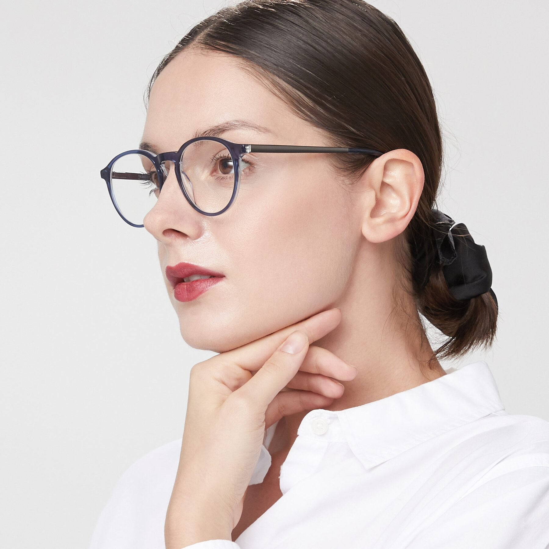 Women's lifestyle photography of 17450 in Blue with Clear Eyeglass Lenses