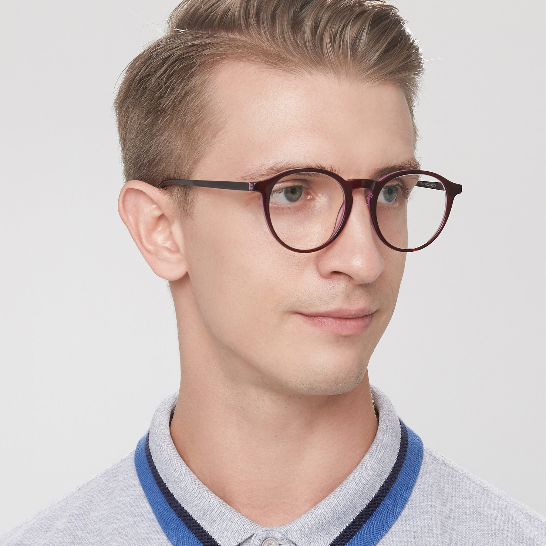 Men's lifestyle photography of 17450 in Purple with Clear Eyeglass Lenses
