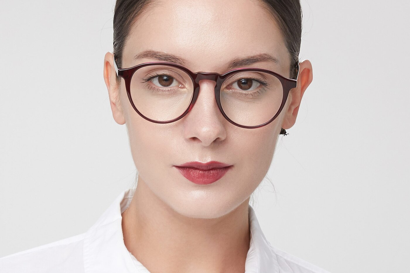 Purple Horn-Rimmed Keyhole Bridge Round Eyeglasses