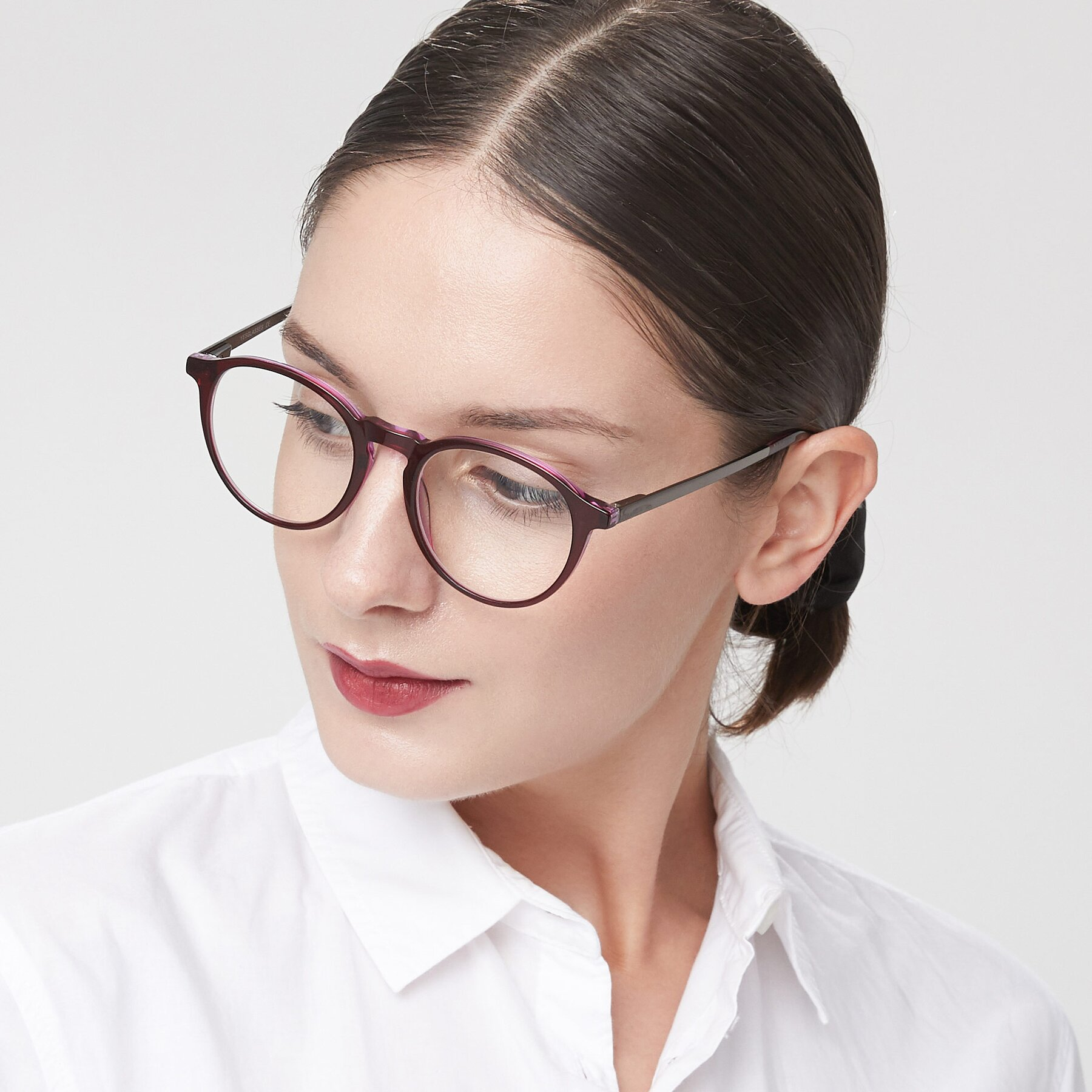 Women's lifestyle photography of 17450 in Purple with Clear Eyeglass Lenses