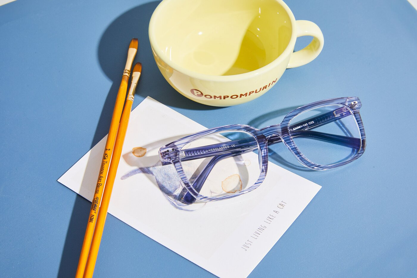Stripe Blue Horn-Rimmed Acetate Rectangle Eyeglasses