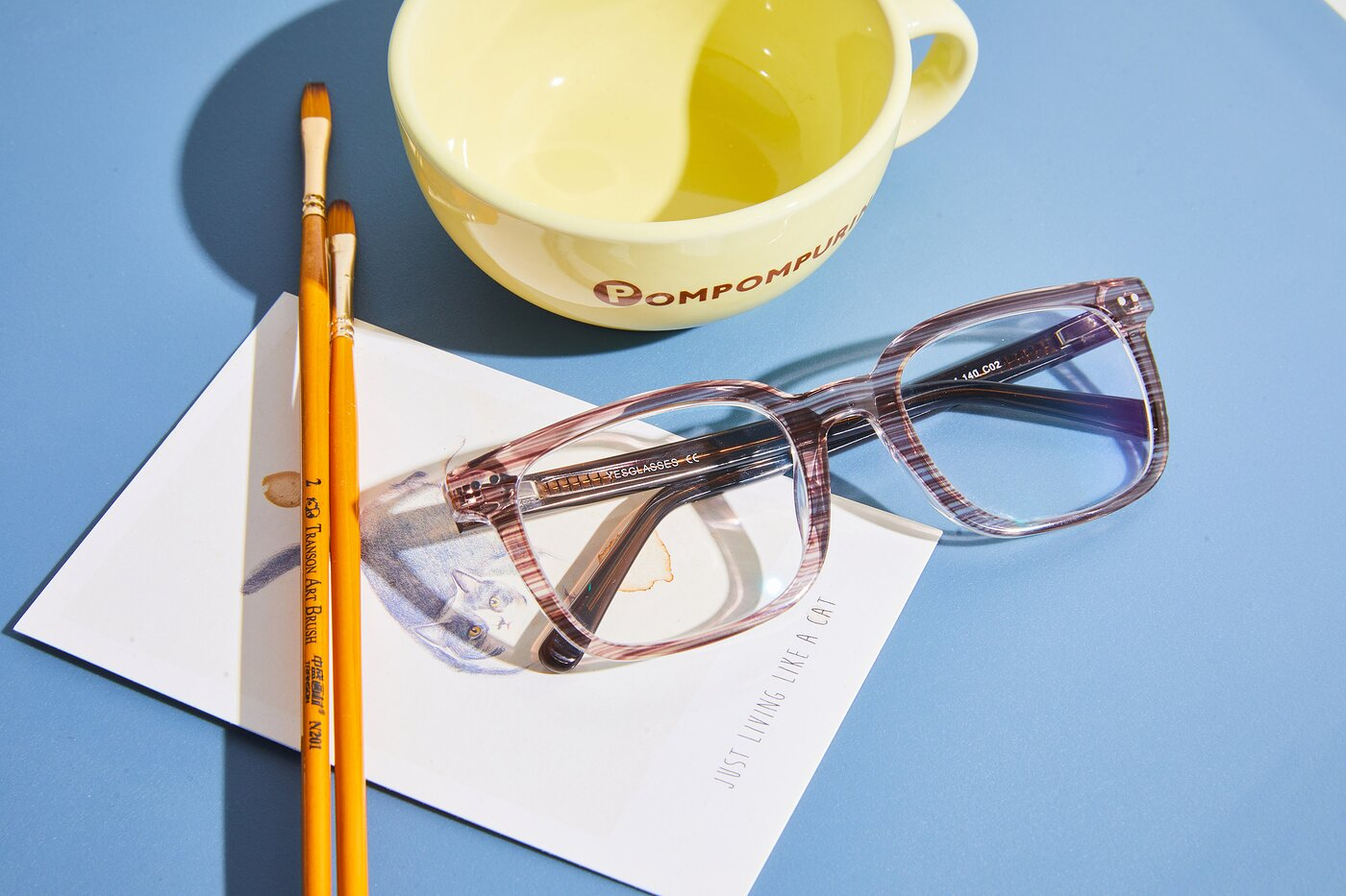 Stripe Coffee Horn-Rimmed Acetate Rectangle Eyeglasses