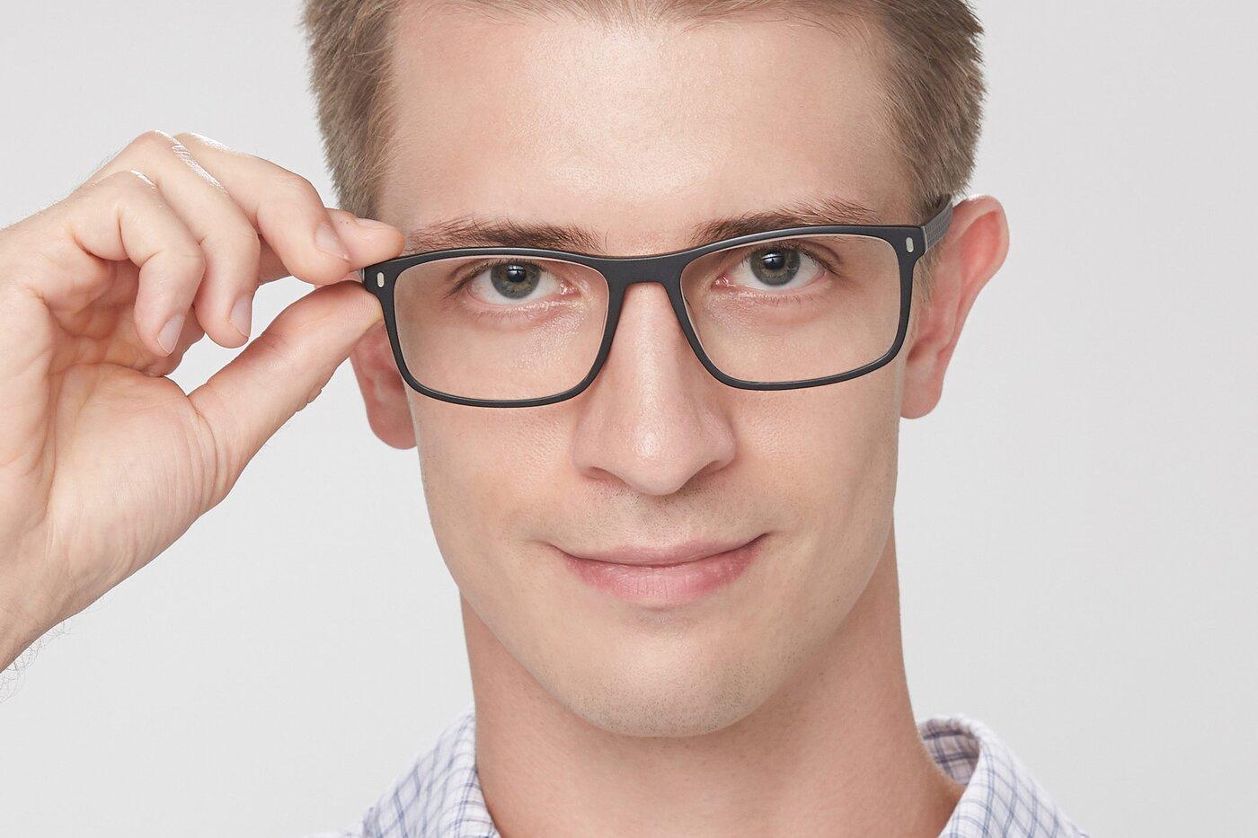 Black Classic Acetate Rectangle Eyeglasses