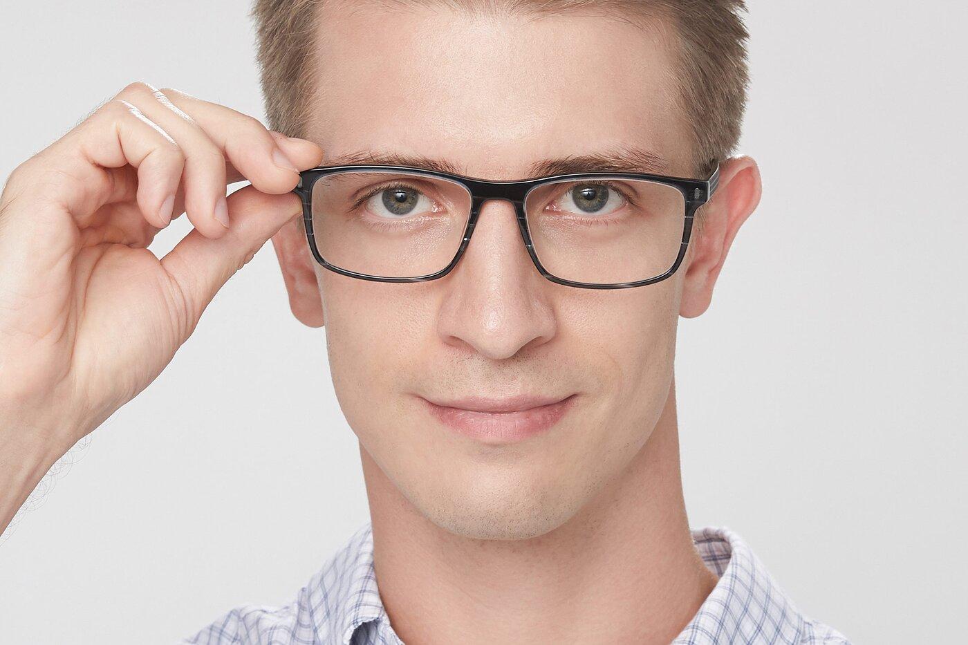 Stripe Blue Classic Acetate Rectangle Eyeglasses