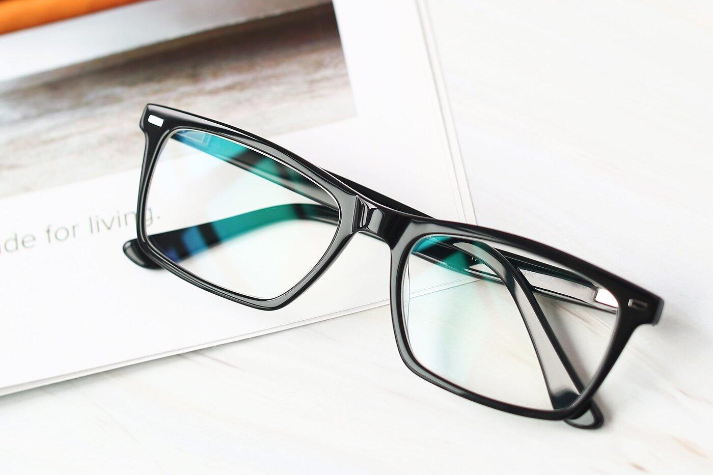 Black Narrow Acetate Rectangle Eyeglasses