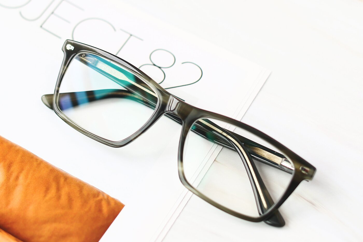 Stripe Green Narrow Acetate Rectangle Eyeglasses