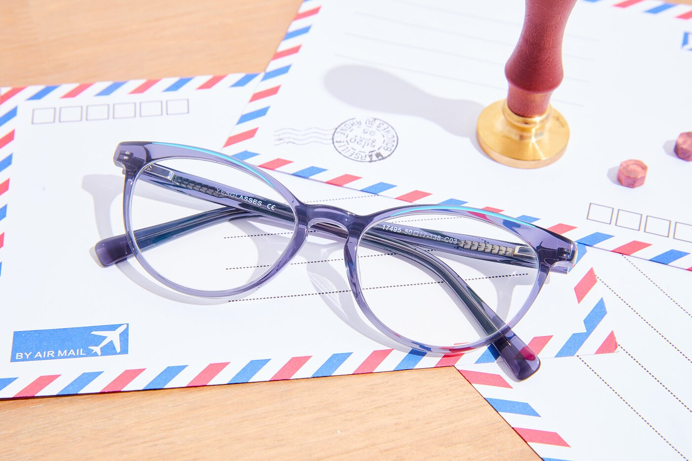 Grey-Blue Narrow Keyhole Bridge Butterfly Eyeglasses