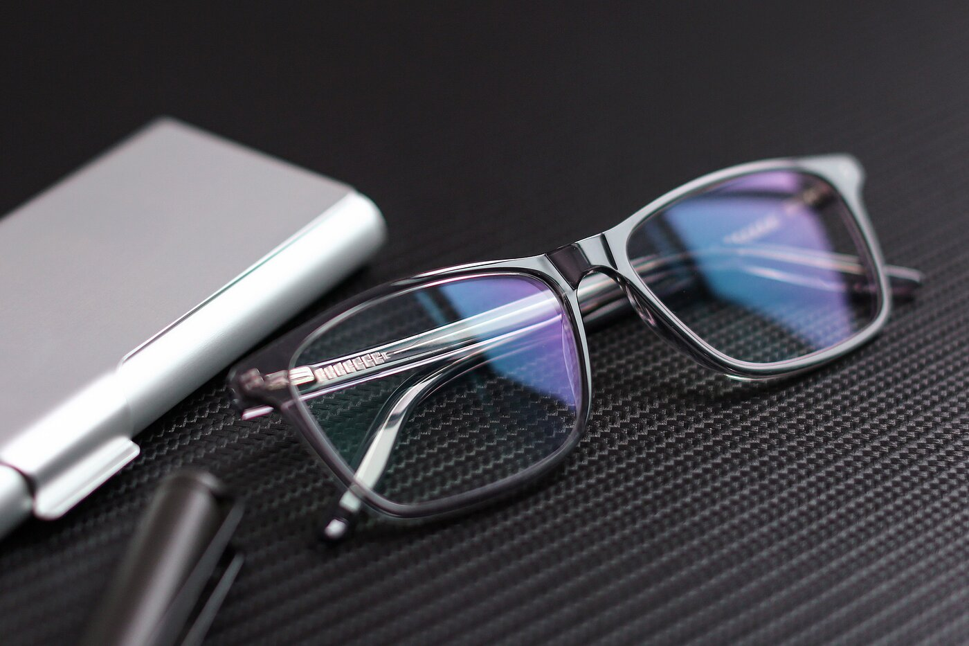 Transparent Grey Lightweight Acetate Rectangle Eyeglasses