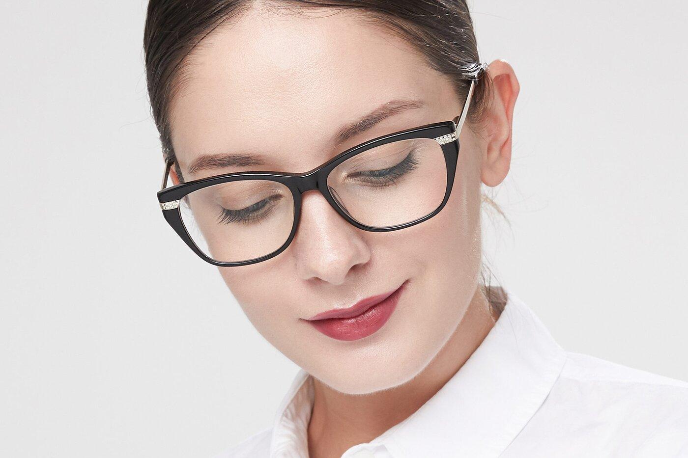 Black Hipster Acetate Cat-Eye Eyeglasses