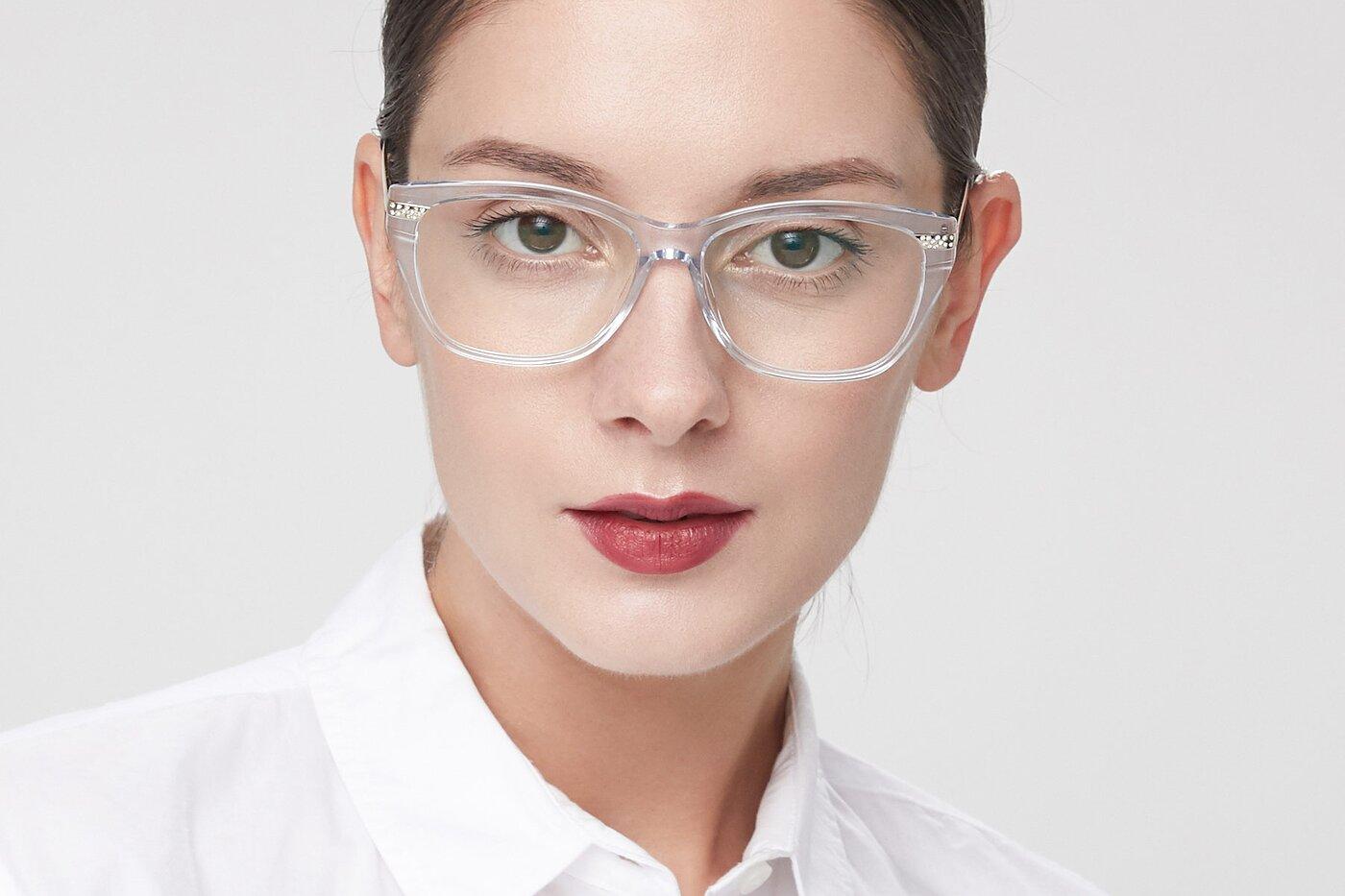 Transparent Blue Hipster Acetate Cat-Eye Eyeglasses