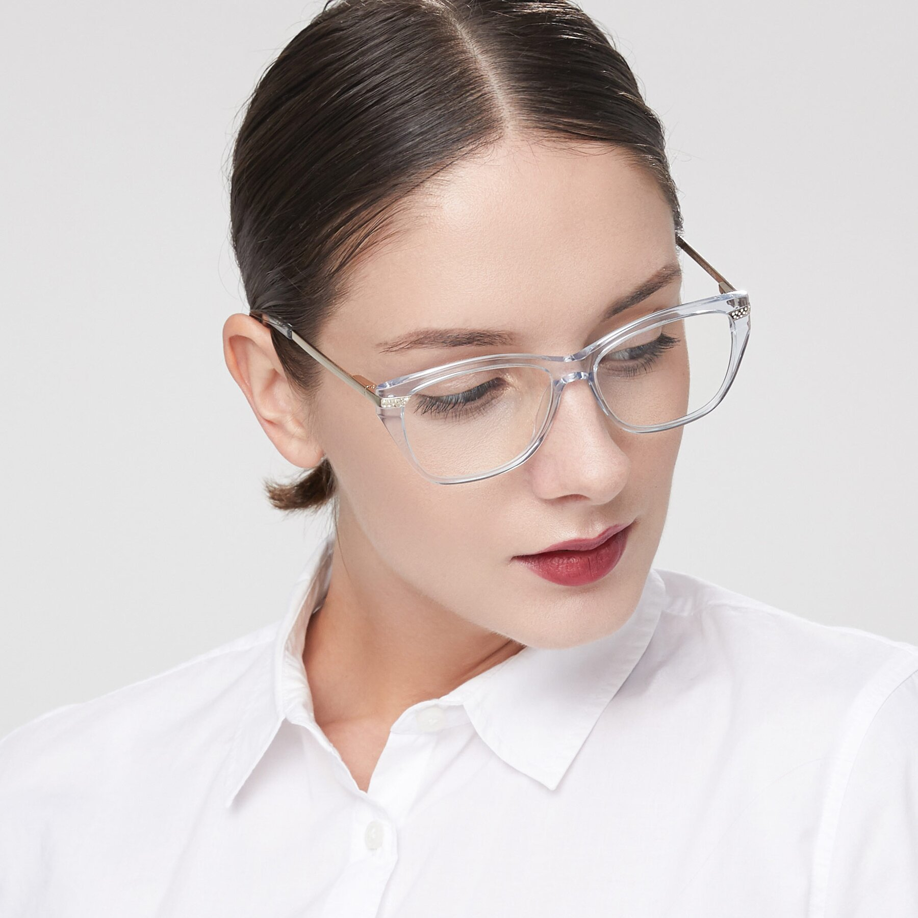 Women's lifestyle photography of 17515 in Transparent Blue with Clear Eyeglass Lenses