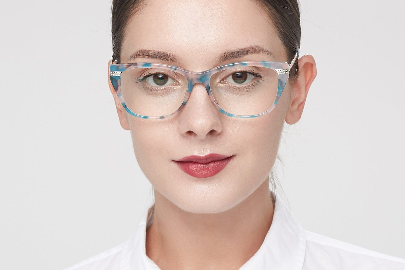 Floral Hipster Acetate Cat-Eye Eyeglasses