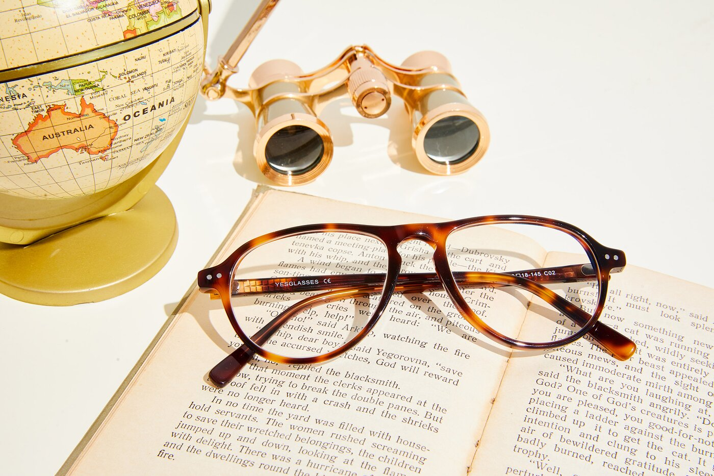 Tortoise Grandpa Keyhole Bridge Aviator Eyeglasses