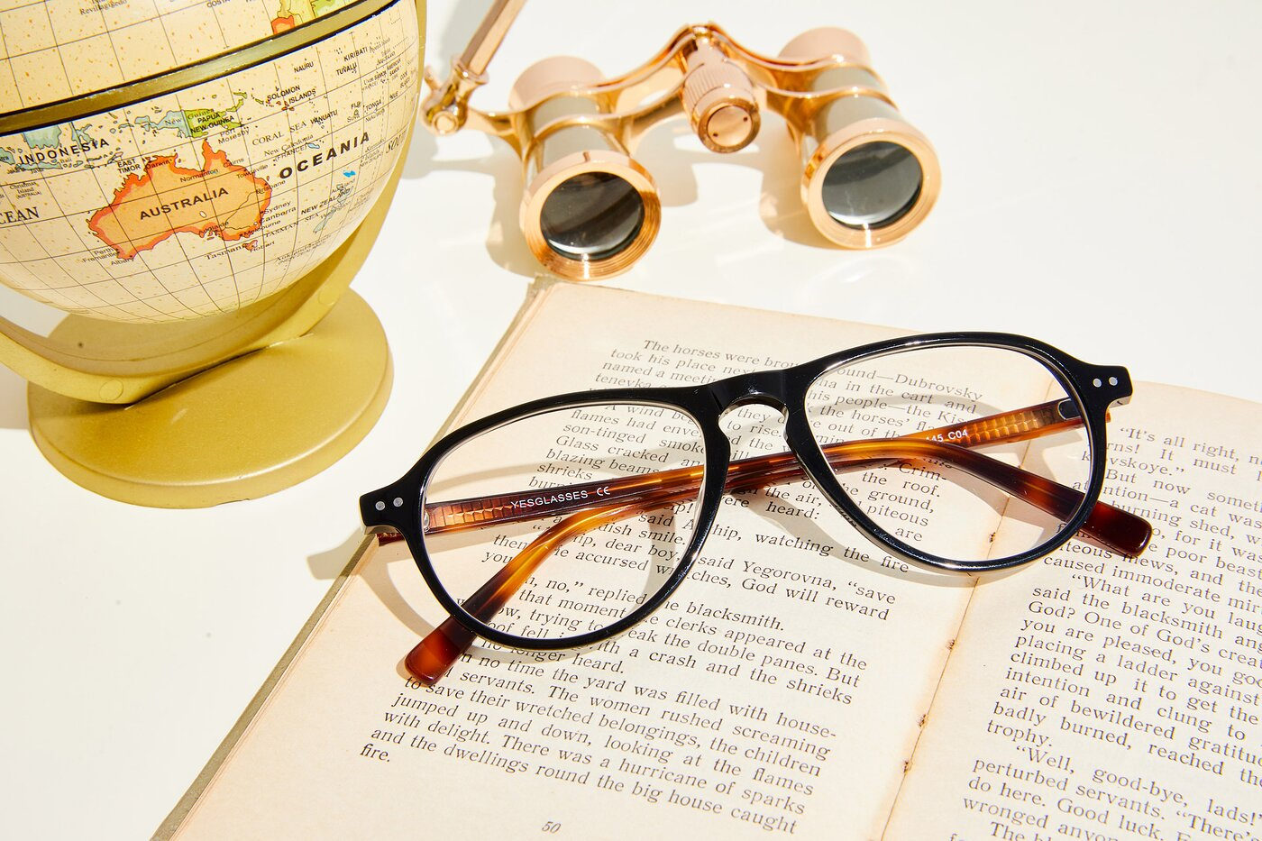 Black-Tortoise Grandpa Keyhole Bridge Aviator Eyeglasses