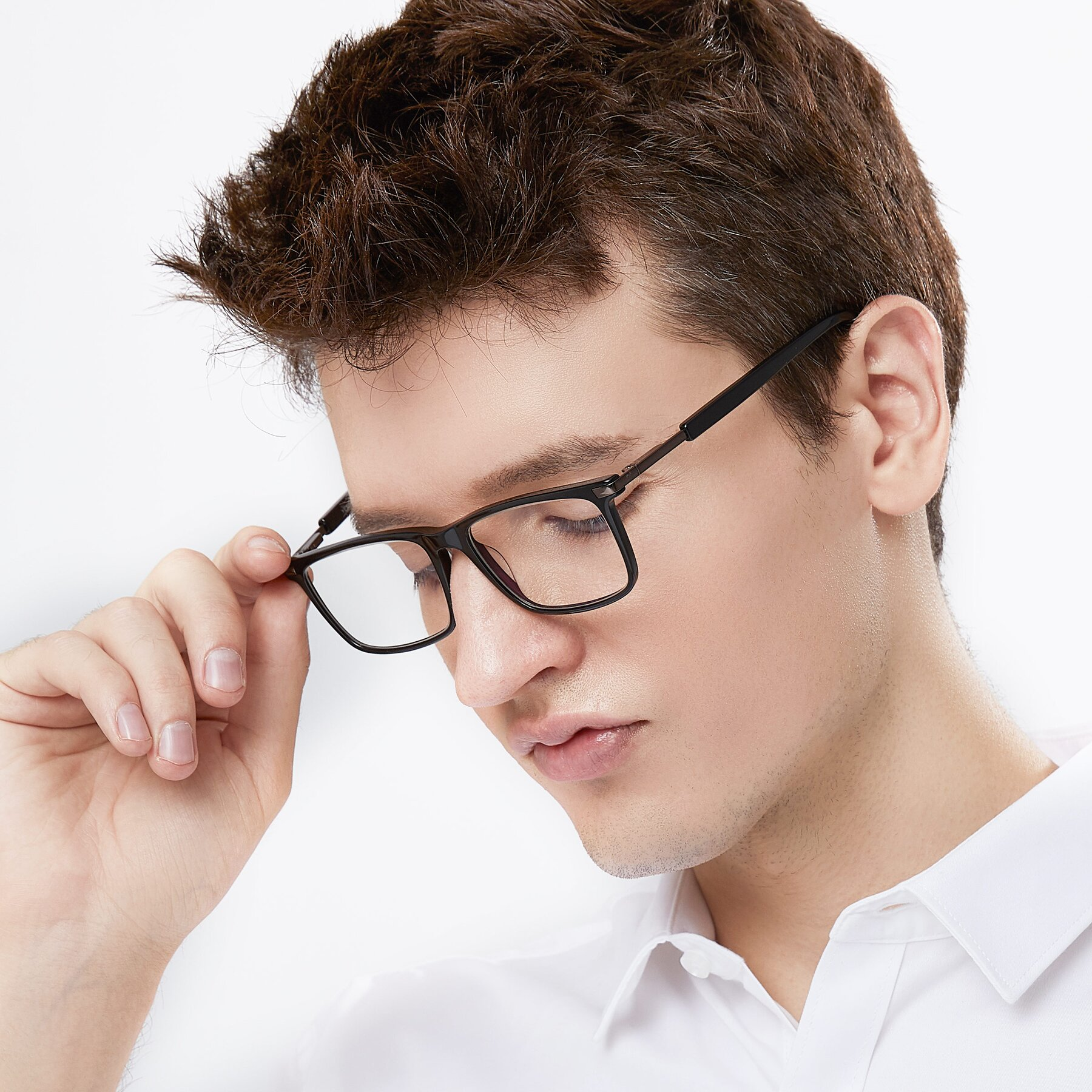 Men's lifestyle photography of 17554 in Black with Clear Blue Light Blocking Lenses
