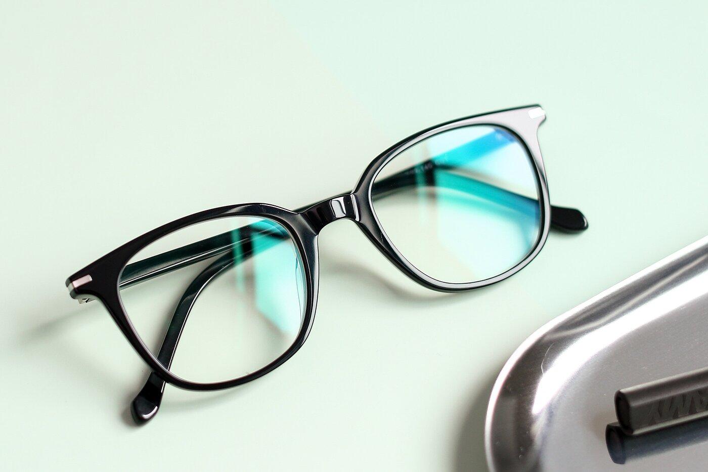 Black Horn-Rimmed Wayfarer Square Eyeglasses