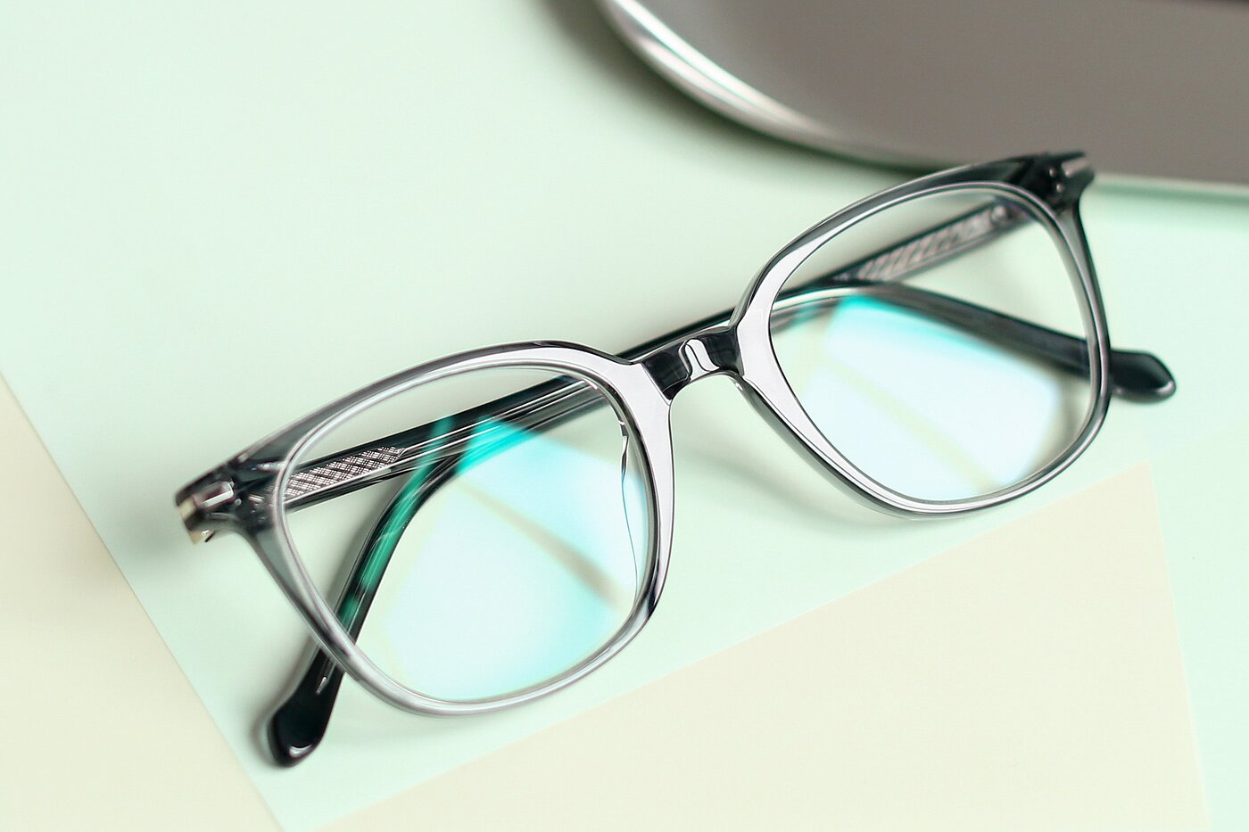 Transparent Grey Horn-Rimmed Wayfarer Square Eyeglasses