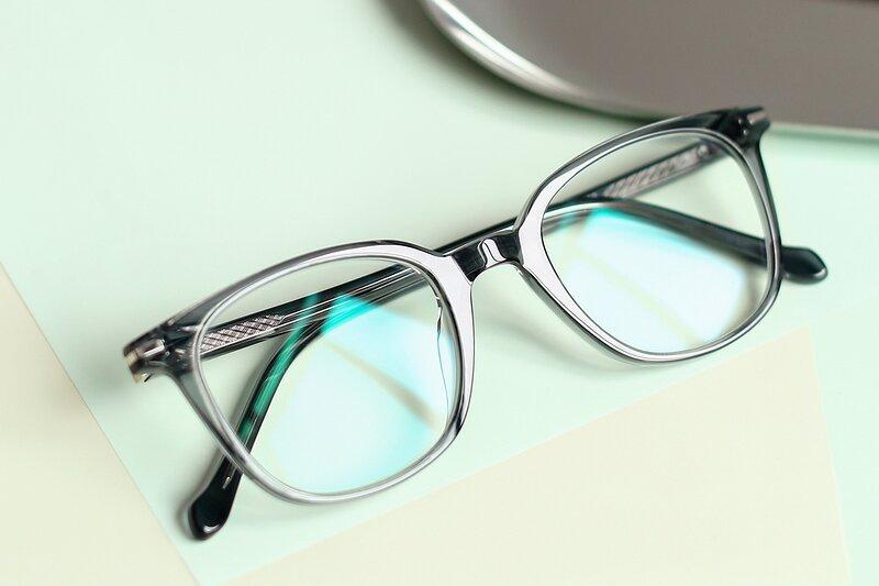Transparent Grey Horn-Rimmed Wayfarer Square Eyeglasses
