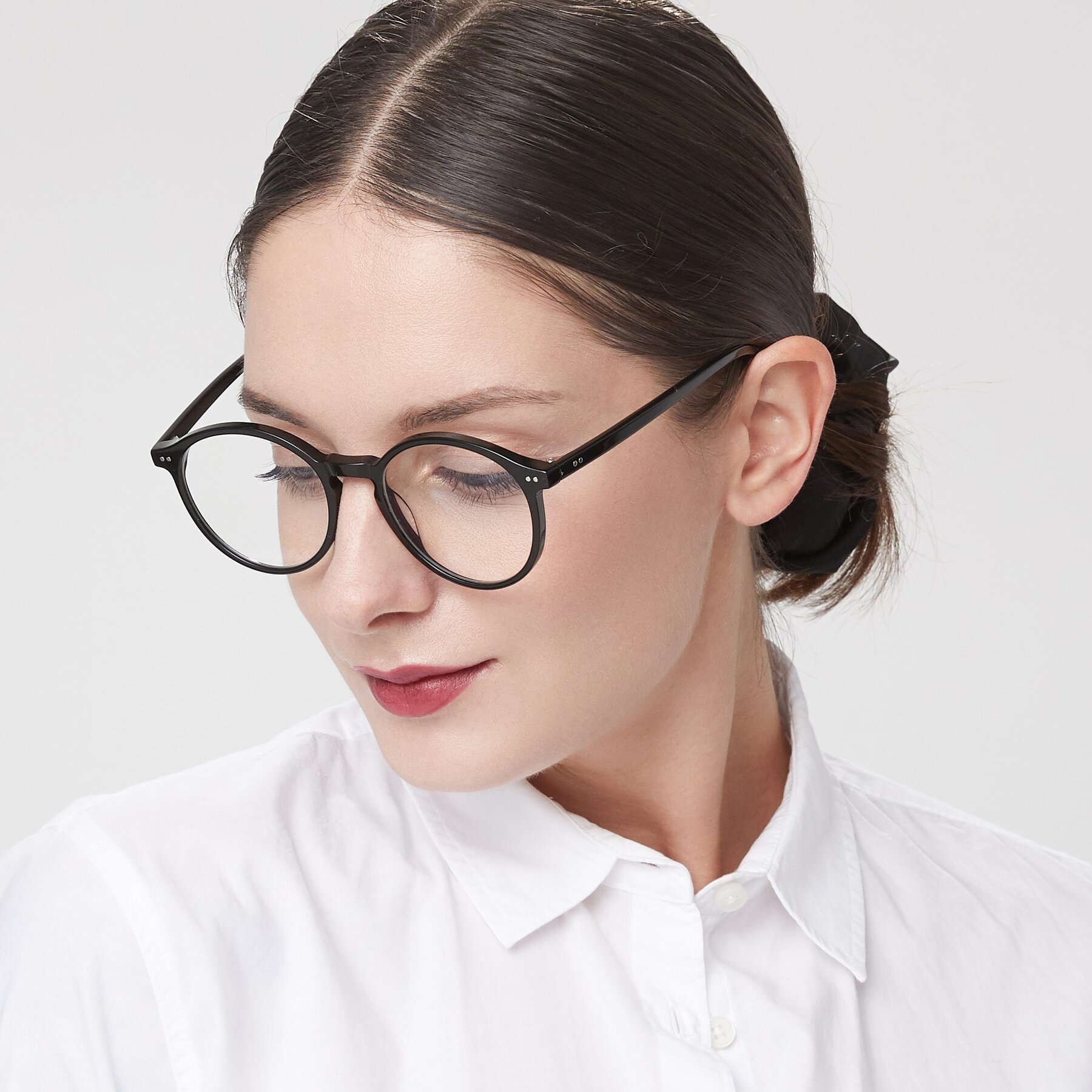Women's lifestyle photography of 17571 in Black with Clear Blue Light Blocking Lenses
