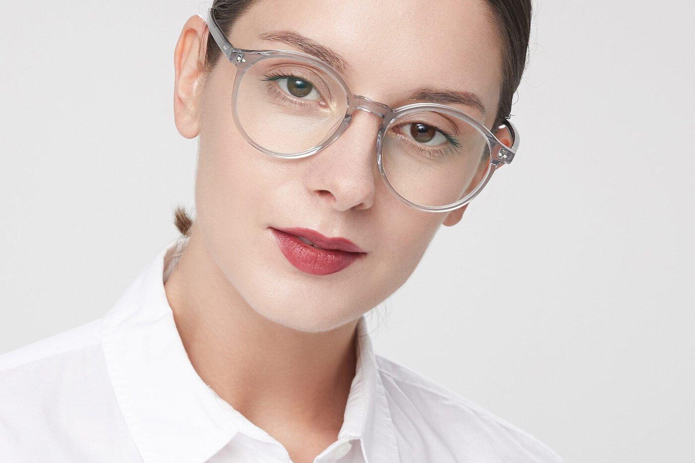 Transparent Grey Wayfarer Keyhole Bridge Round Eyeglasses