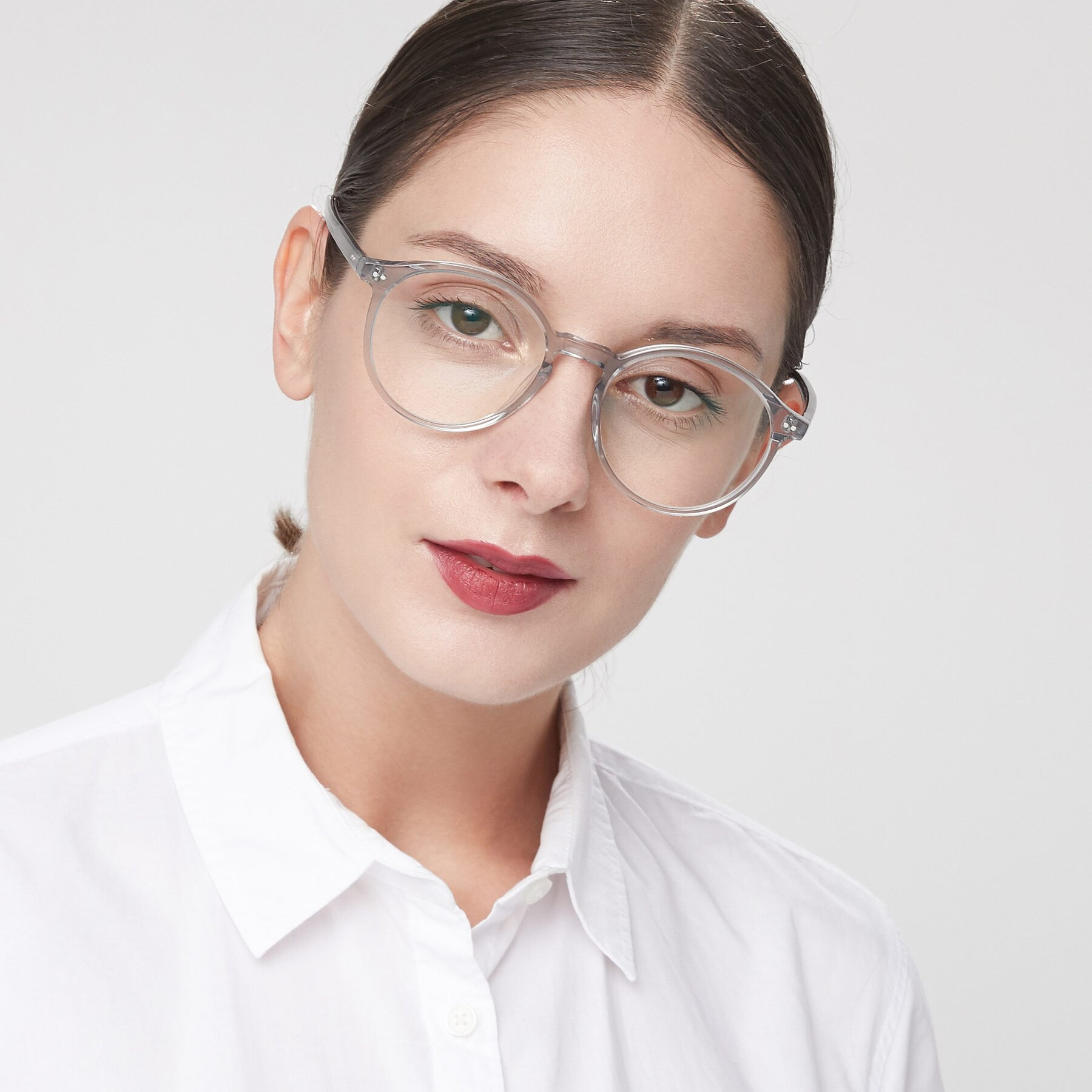Women's lifestyle photography of 17571 in Transparent Grey with Clear Blue Light Blocking Lenses