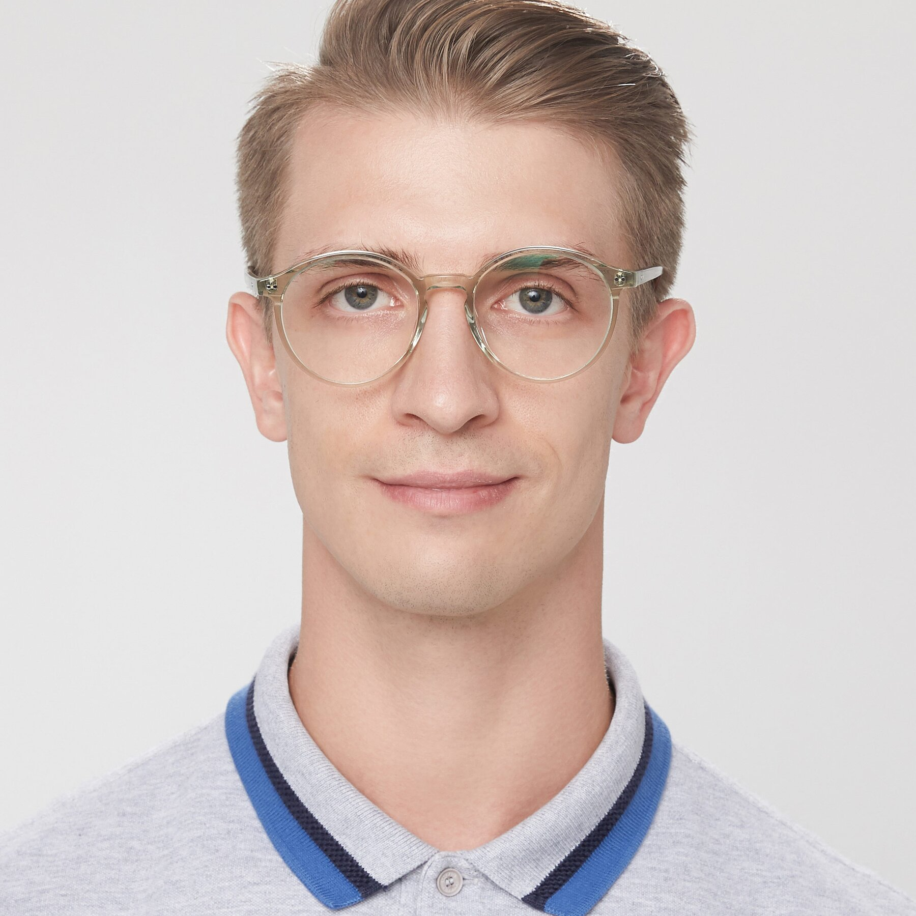 Men's lifestyle photography of 17571 in Transparent Green with Clear Eyeglass Lenses