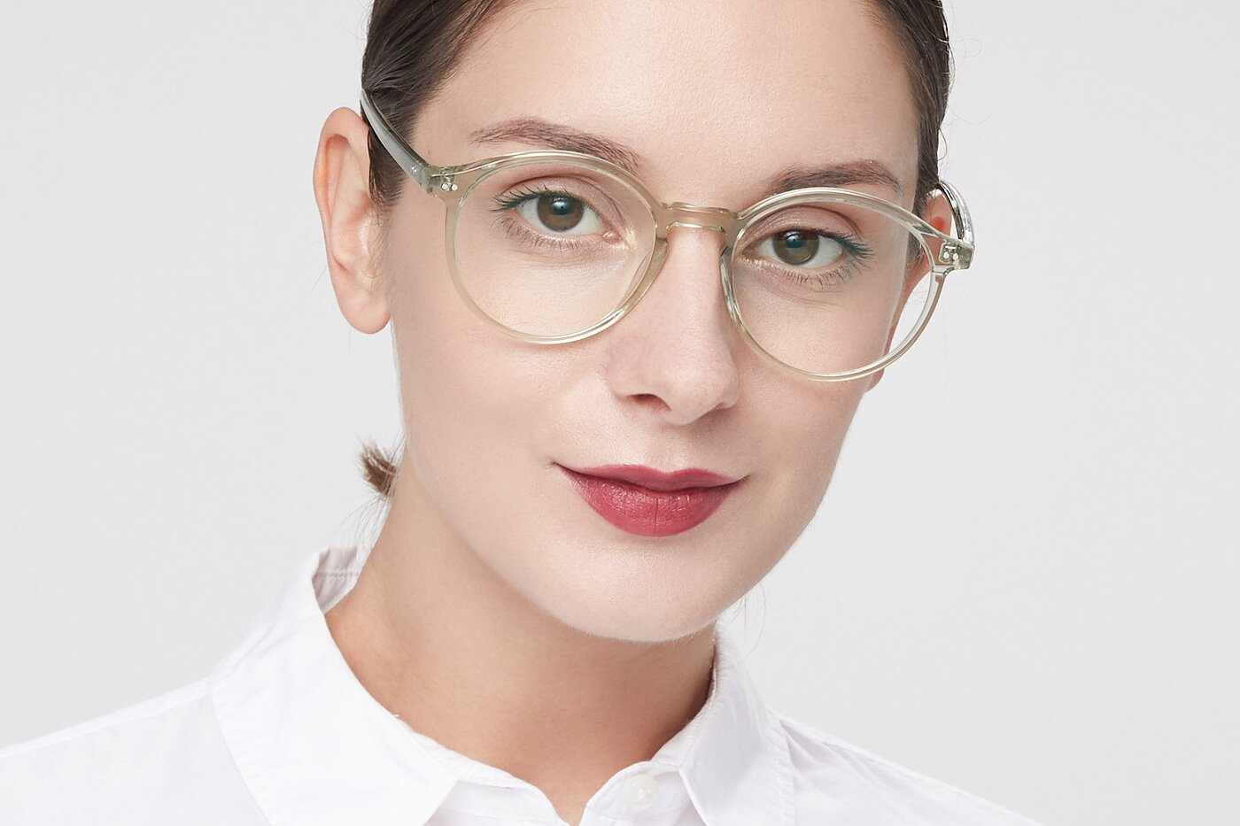 Transparent Green Wayfarer Keyhole Bridge Round Eyeglasses