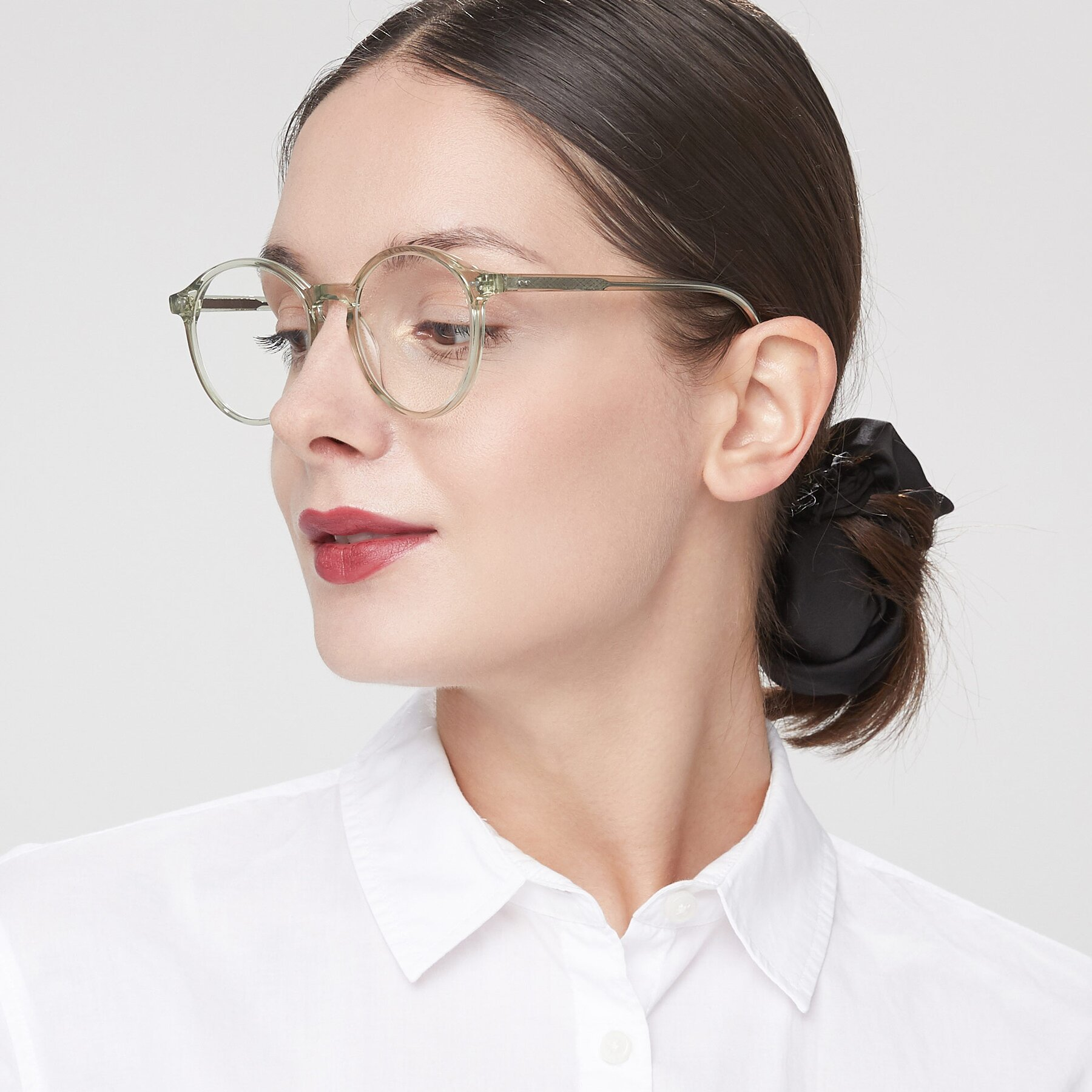 Women's lifestyle photography of 17571 in Transparent Green with Clear Blue Light Blocking Lenses